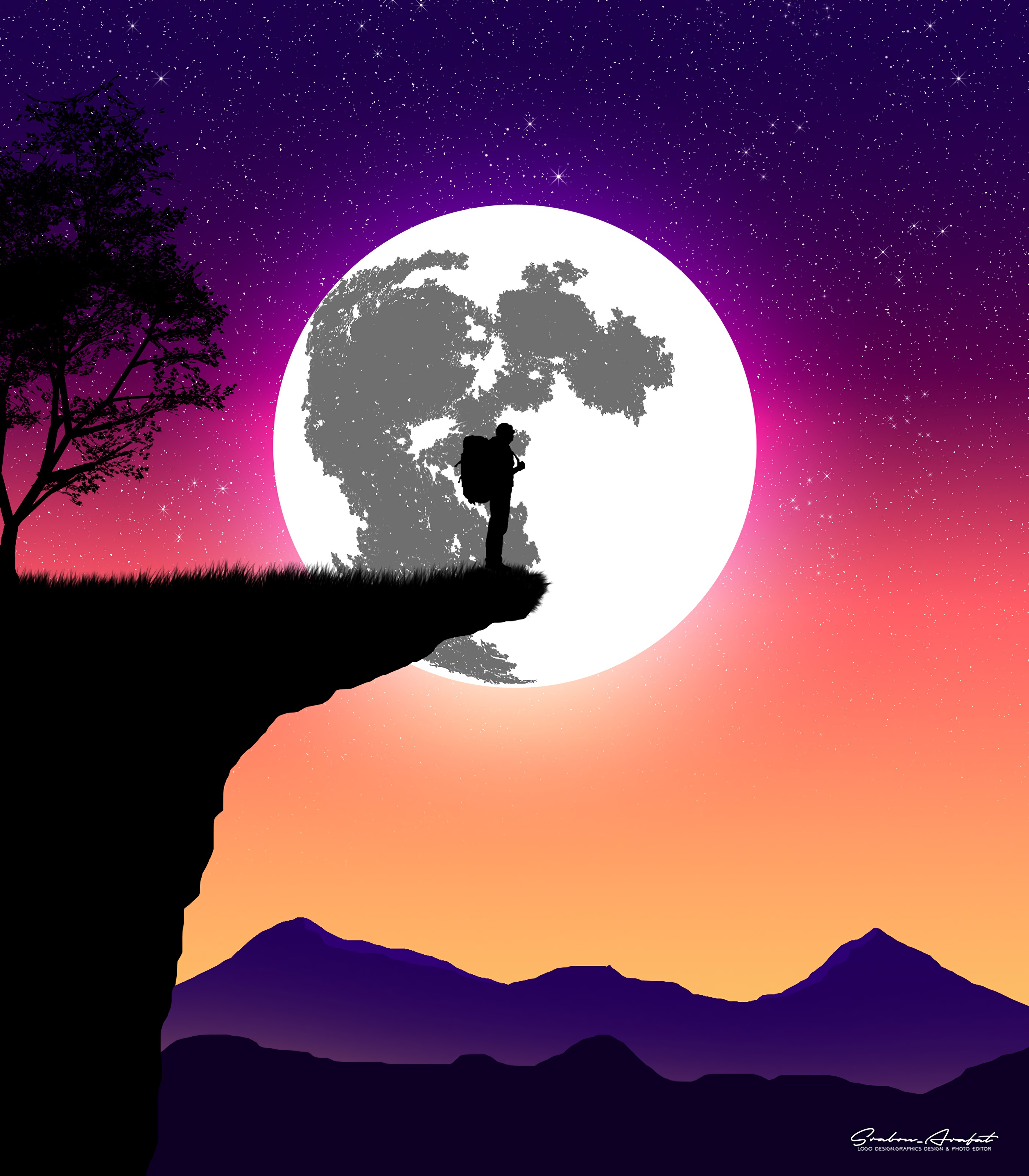 146796 Screensavers and Wallpapers Moon for phone. Download Vector, Silhouette, Moon, Art, Break, Precipice, Night pictures for free