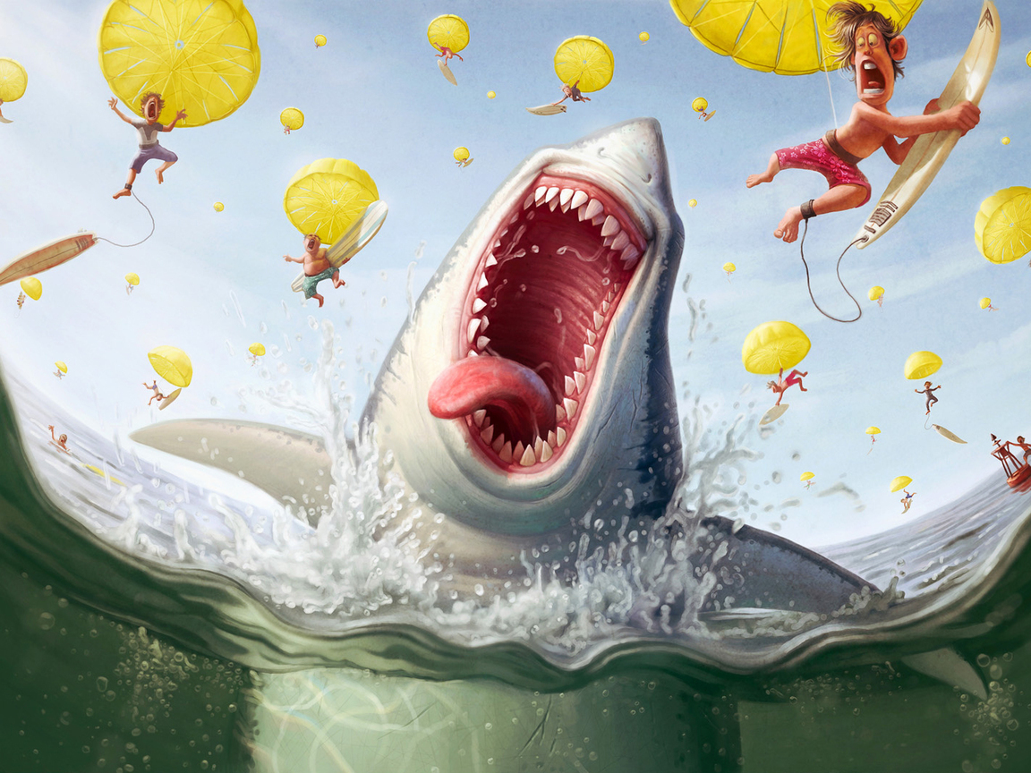 6893 download wallpaper Funny, Sea, Sharks, Pictures screensavers and pictures for free