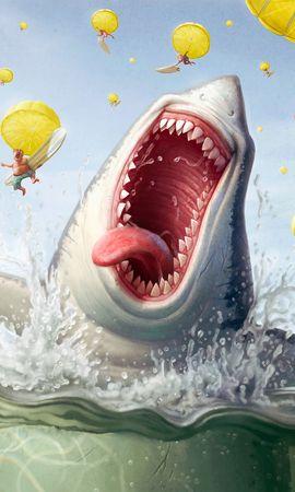 6893 baixar papel de parede Engraçado, Mar, Sharks, Imagens - protetores de tela e imagens gratuitamente