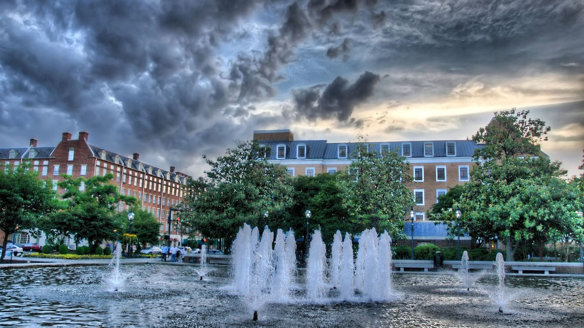 104056 Screensavers and Wallpapers Fountain for phone. Download Cities, Sky, Fountain, Building, Mainly Cloudy, Overcast, Baden, Württemberg, Wurttemberg pictures for free