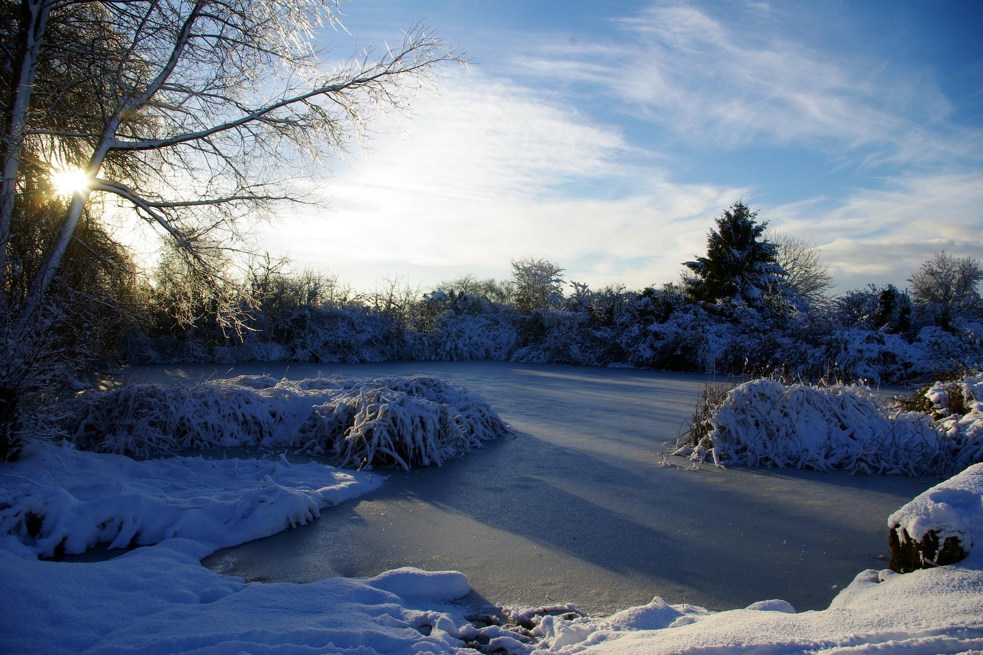 53065壁紙のダウンロード自然, フランス, 湖, 氷, 霜, 冬, スカイ, 朝, 輝く, 光-スクリーンセーバーと写真を無料で