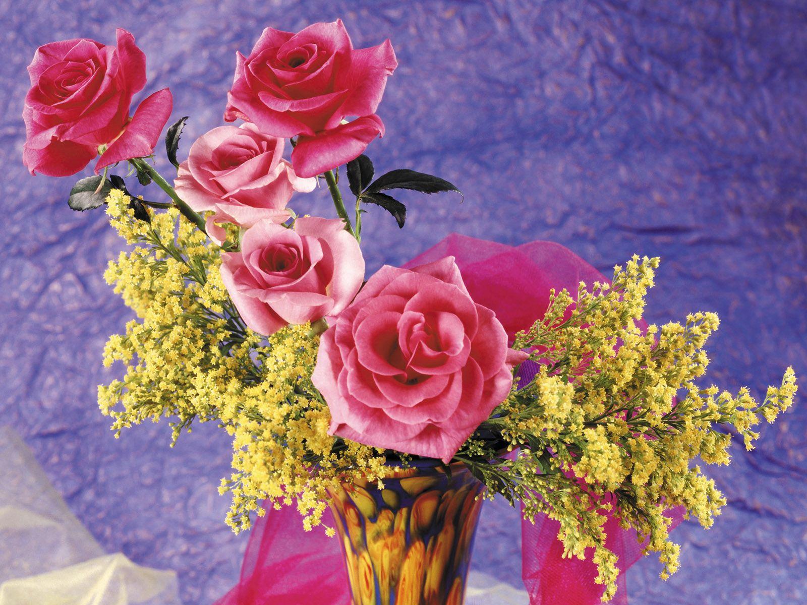 69550 скачать обои Цветы, Мимозы, Ваза, Розы - заставки и картинки бесплатно