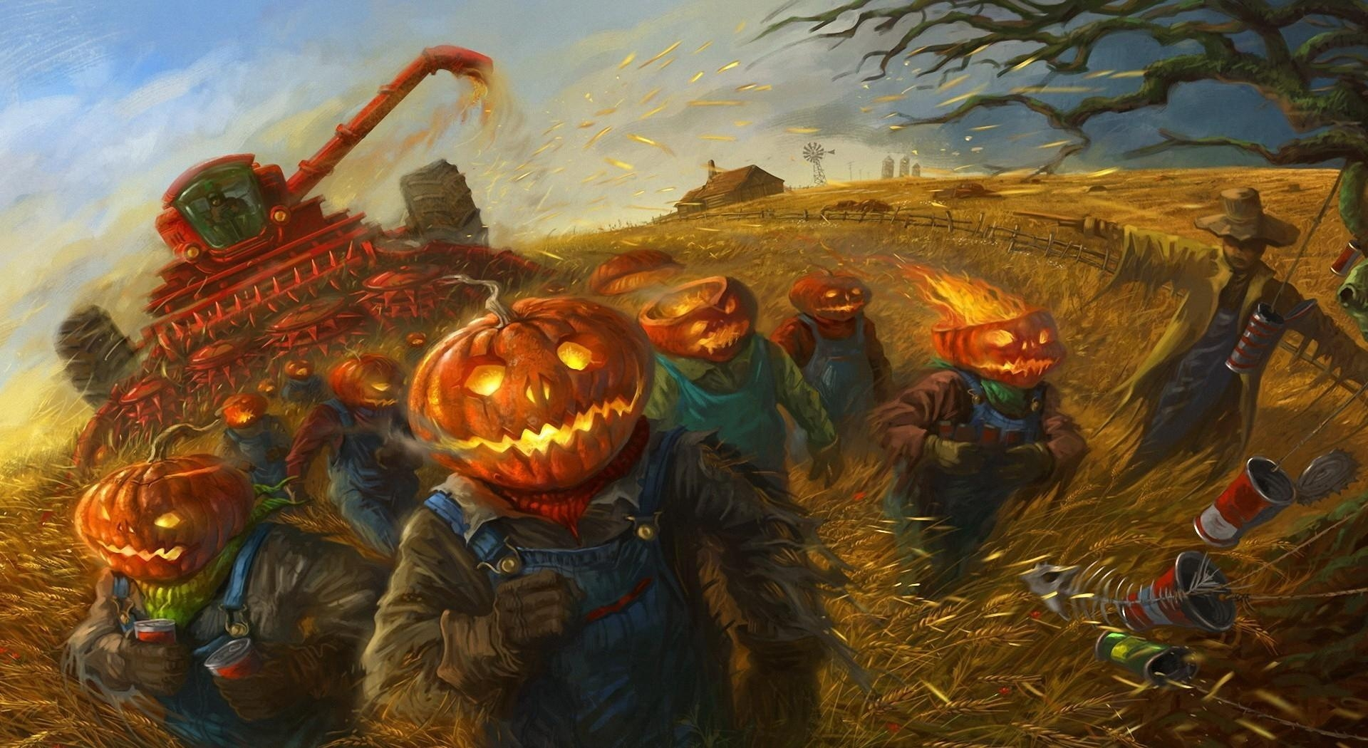 114908 download wallpaper Halloween, People, Holidays, Pumpkin, Holiday, Field, Run, Running, Combine, Combine Harvester screensavers and pictures for free