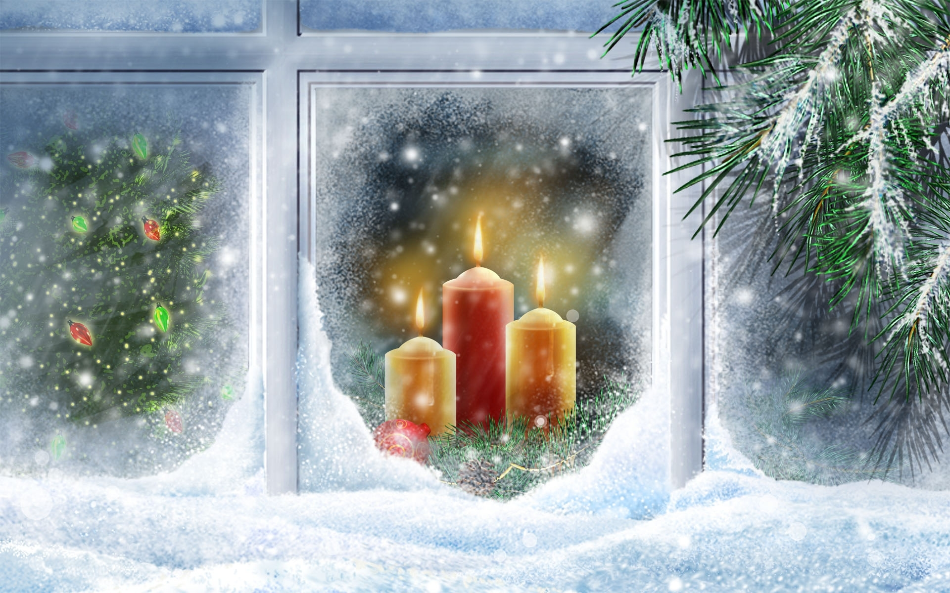 41564 download wallpaper Background, Snow, Candles, Pictures screensavers and pictures for free