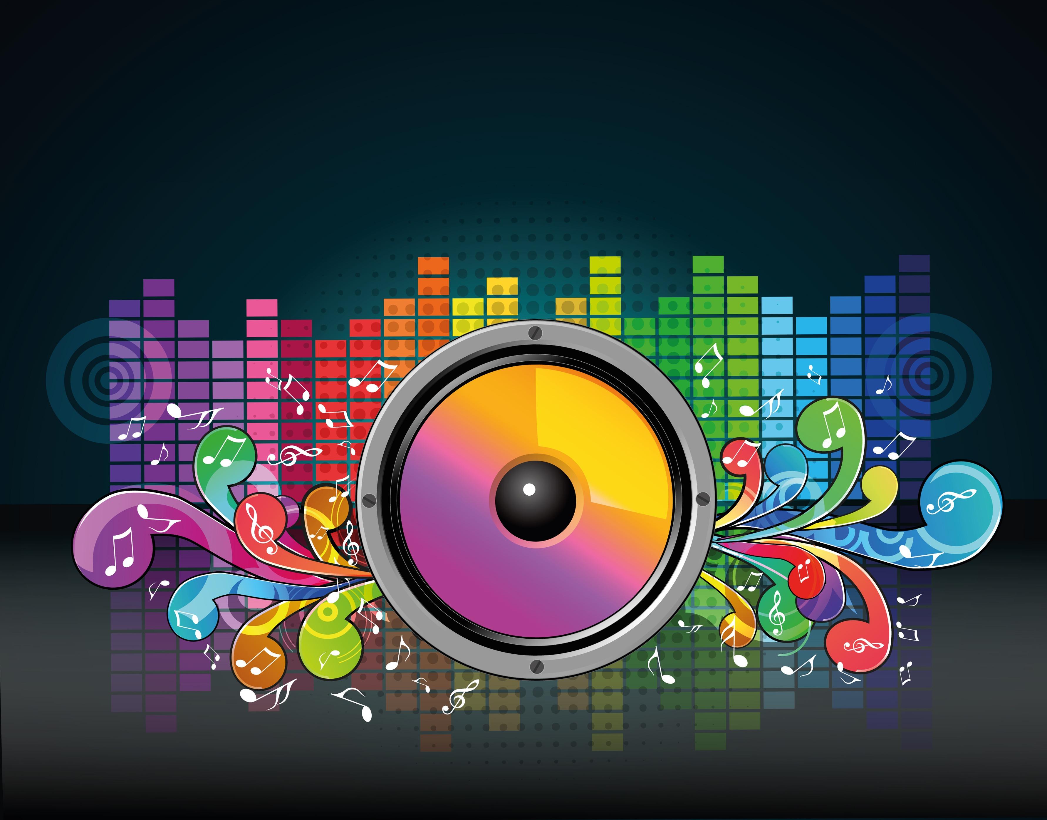 129050 Hintergrundbild herunterladen Musik, Vektor, Equalizer, Anmerkungen, Lautsprecher - Bildschirmschoner und Bilder kostenlos