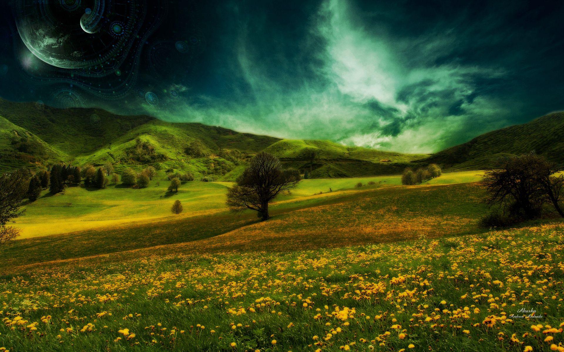 58152 скачать обои Природа, Поле, Холмы, Пейзаж, Цветы - заставки и картинки бесплатно