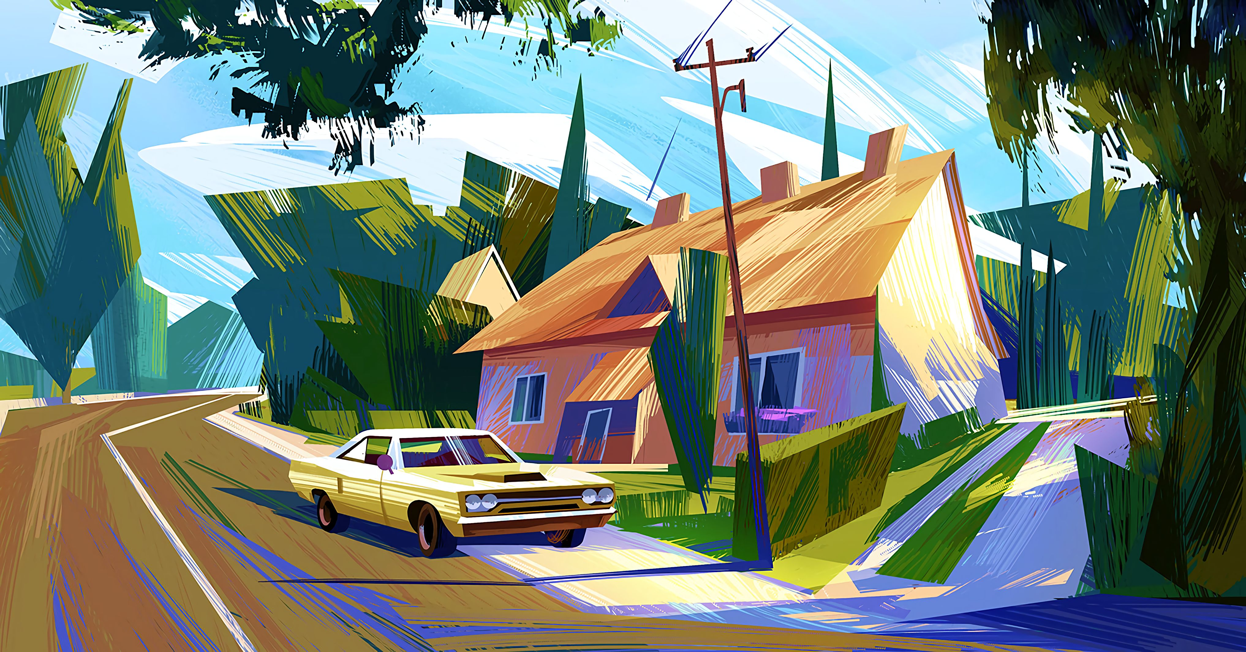 115888 download wallpaper Art, Car, Small House, Lodge, Colorful, Colourful screensavers and pictures for free