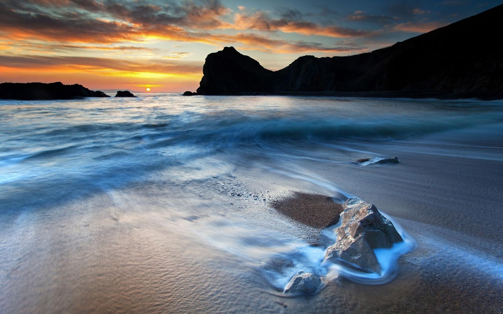 26546 скачать обои Пейзаж, Закат, Море, Волны, Пляж - заставки и картинки бесплатно