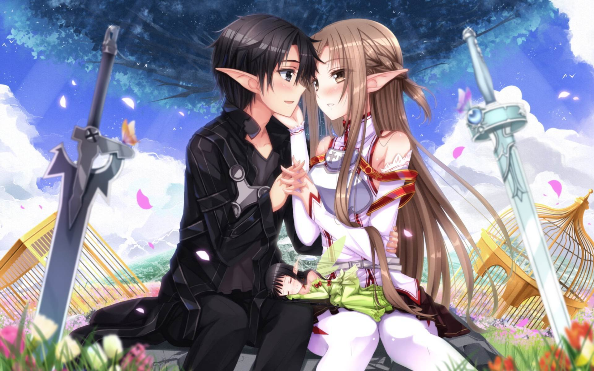 40095 download wallpaper Anime, Girls, Men, Sword Art Online screensavers and pictures for free