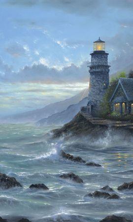 10628 скачать обои Пейзаж, Вода, Дома, Море, Рисунки - заставки и картинки бесплатно