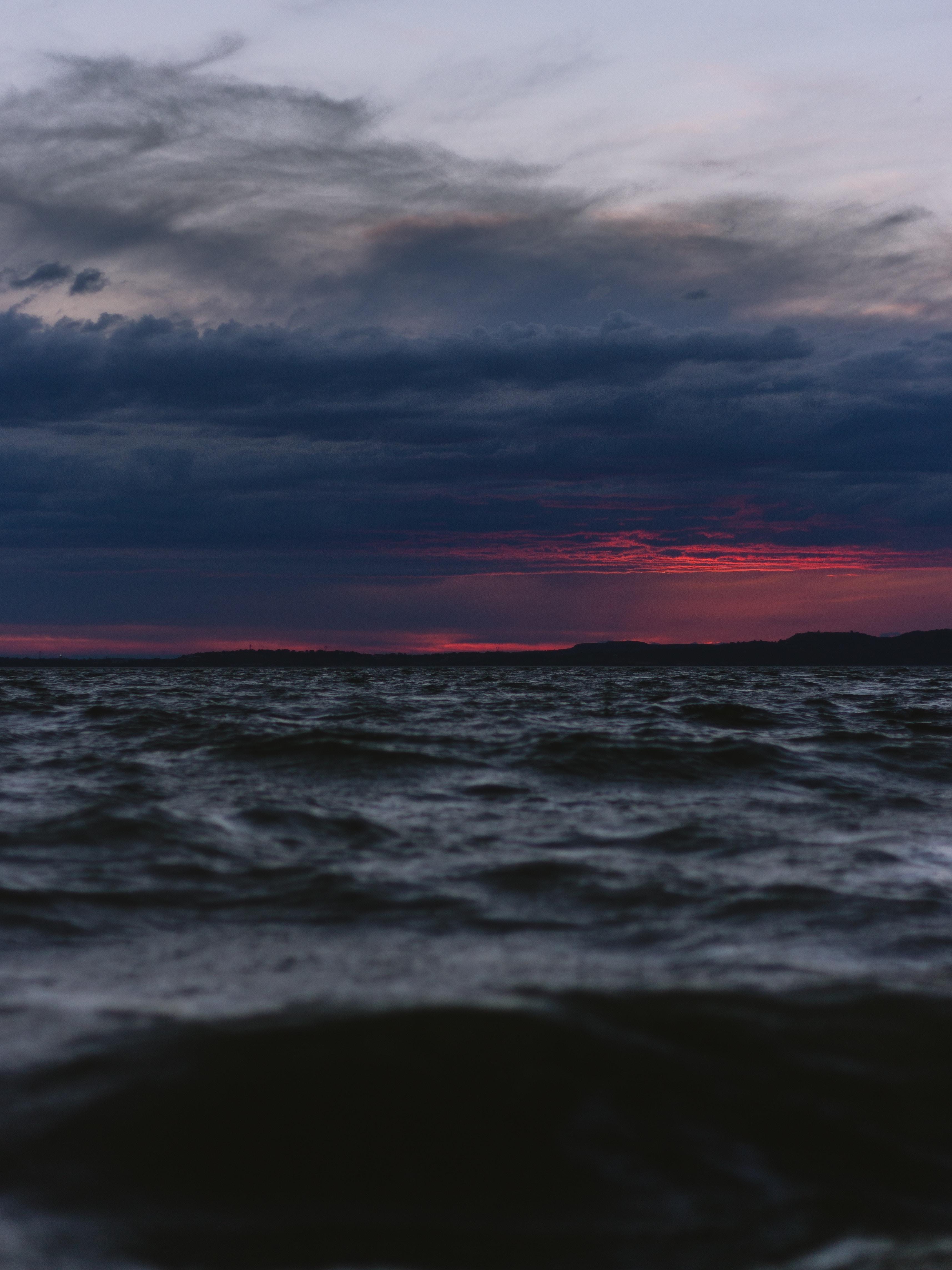 68102 Hintergrundbild 480x800 kostenlos auf deinem Handy, lade Bilder Natur, Sea, Clouds, Waves, Horizont, Dunkel, Dämmerung, Twilight, Abend 480x800 auf dein Handy herunter