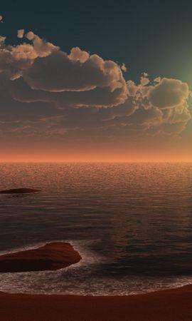 28494 скачать обои Пейзаж, Закат, Море, Пляж - заставки и картинки бесплатно