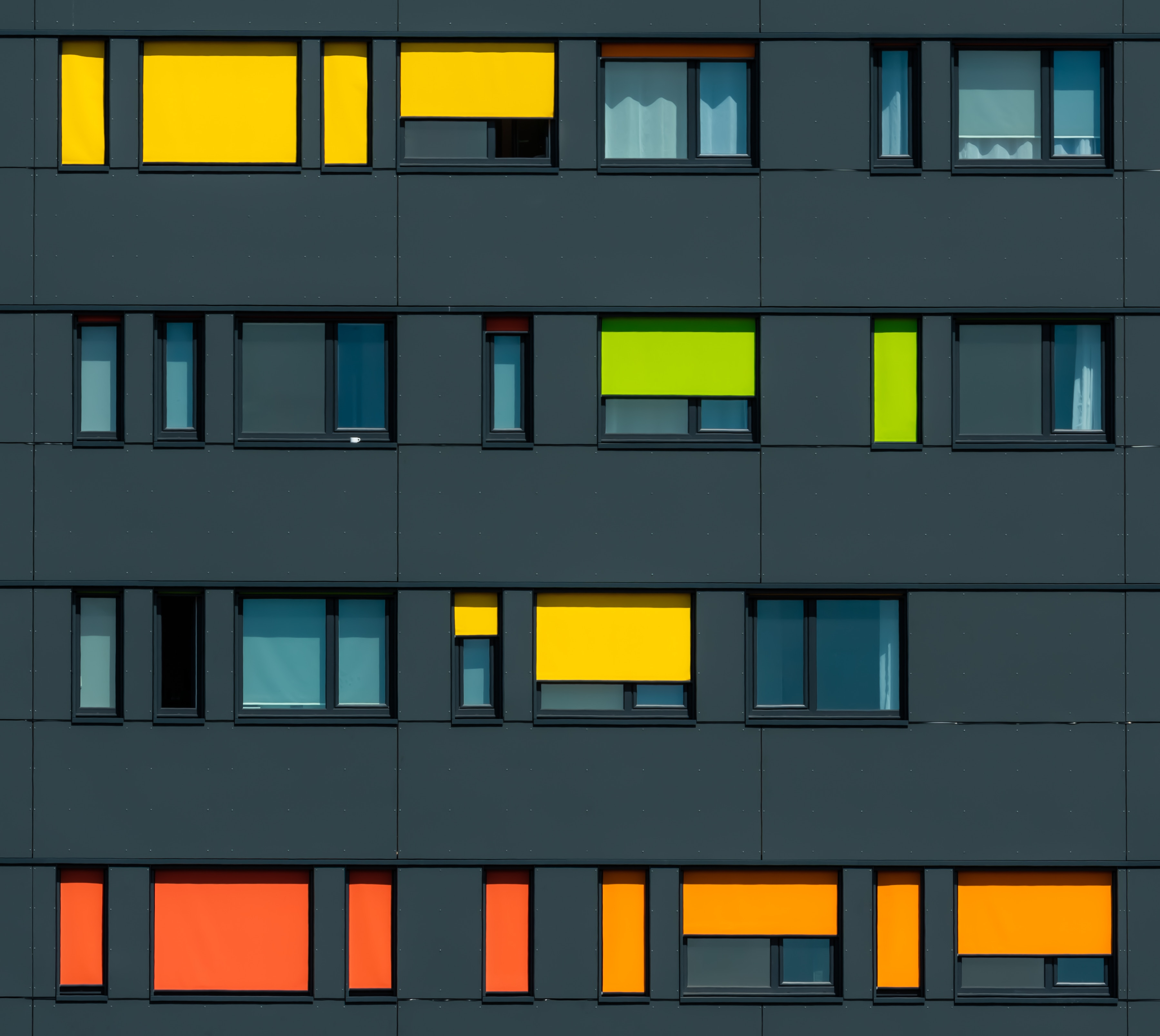 105888 Screensavers and Wallpapers Windows for phone. Download Windows, Building, Multicolored, Motley, Minimalism, Facade pictures for free