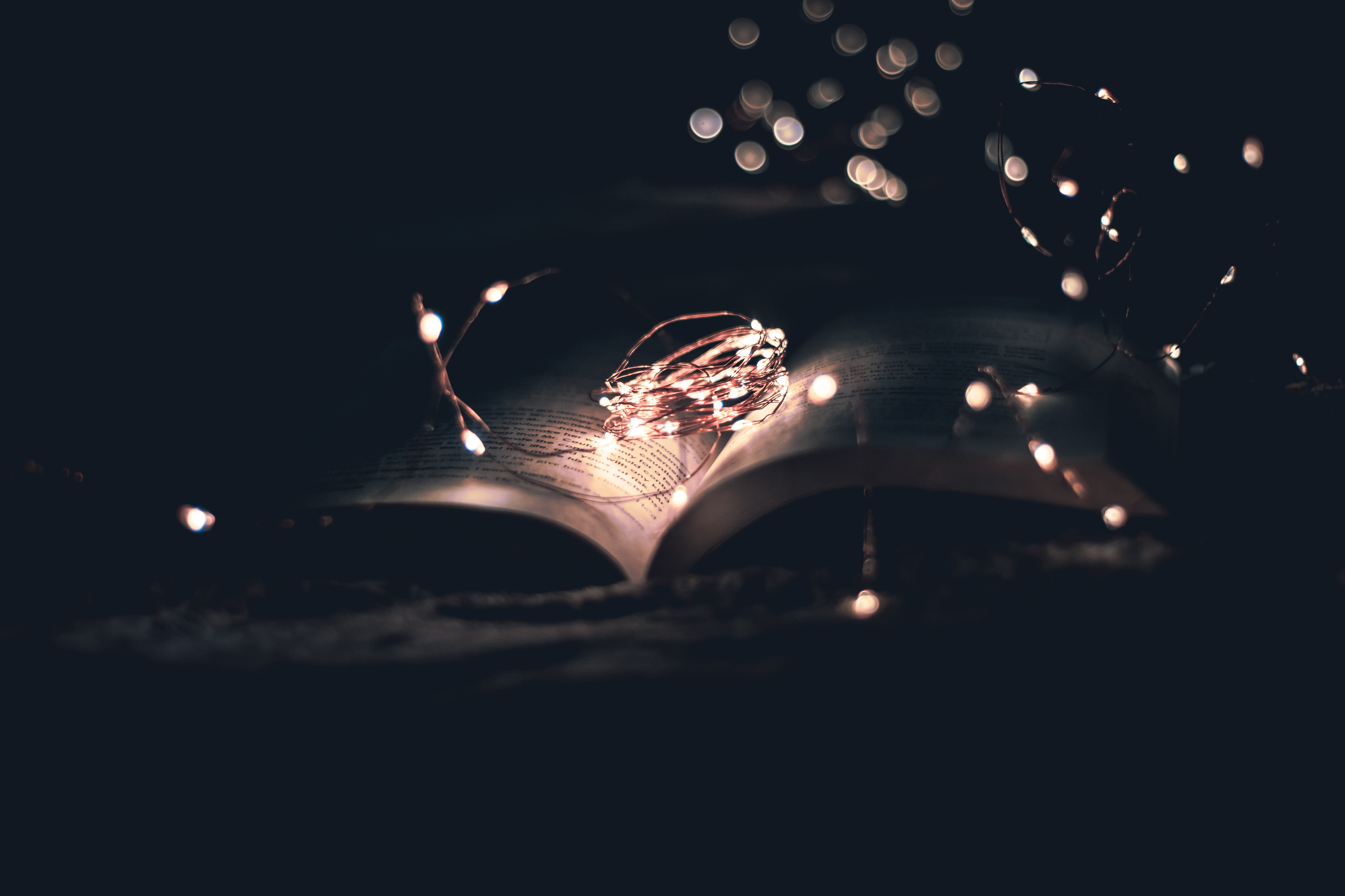 75682 Screensavers and Wallpapers Book for phone. Download Dark, Shine, Light, Darkness, Garland, Book, Reading pictures for free
