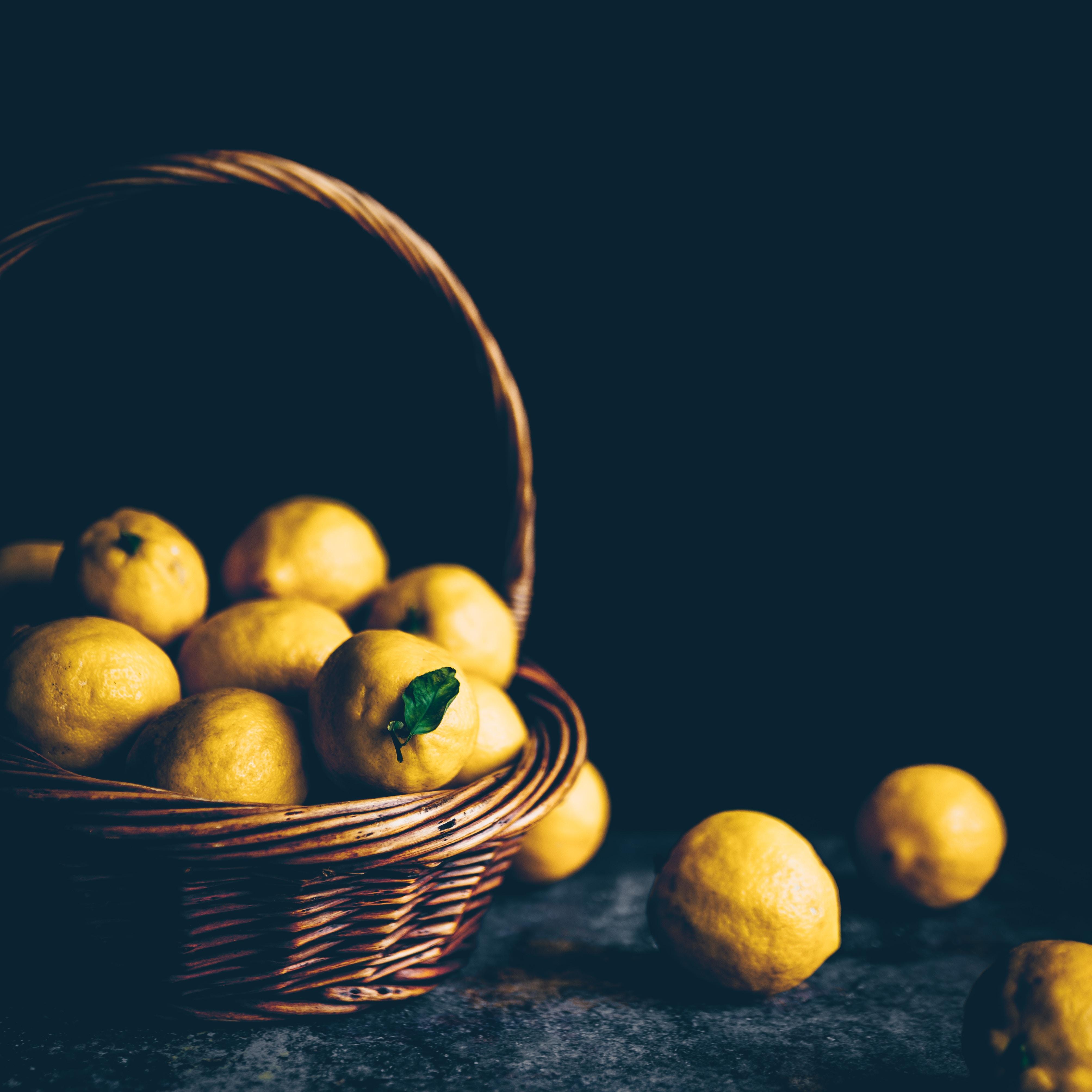 154569 download wallpaper Food, Lemons, Fruit, Citrus, Basket, Sour screensavers and pictures for free