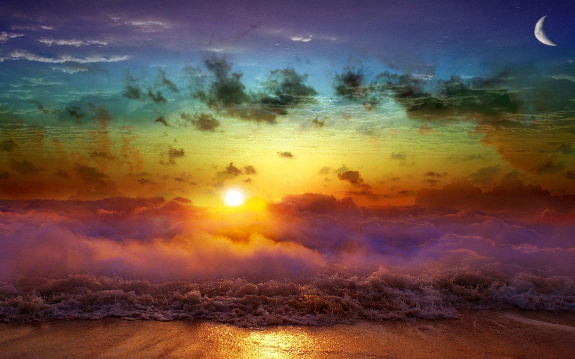 143900 Заставки и Обои Волны на телефон. Скачать Природа, Луна, Закат, Вечер, Слияние, День, Ночь, Море, Туман, Облака, Волны, Солнце картинки бесплатно