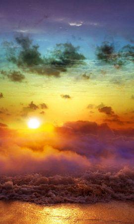 143900 Заставки и Обои Солнце на телефон. Скачать Природа, Луна, Закат, Вечер, Слияние, День, Ночь, Море, Туман, Облака, Волны, Солнце картинки бесплатно