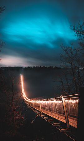 57141 Заставки и Обои Деревья на телефон. Скачать Мост, Ночь, Туман, Деревья, Города картинки бесплатно