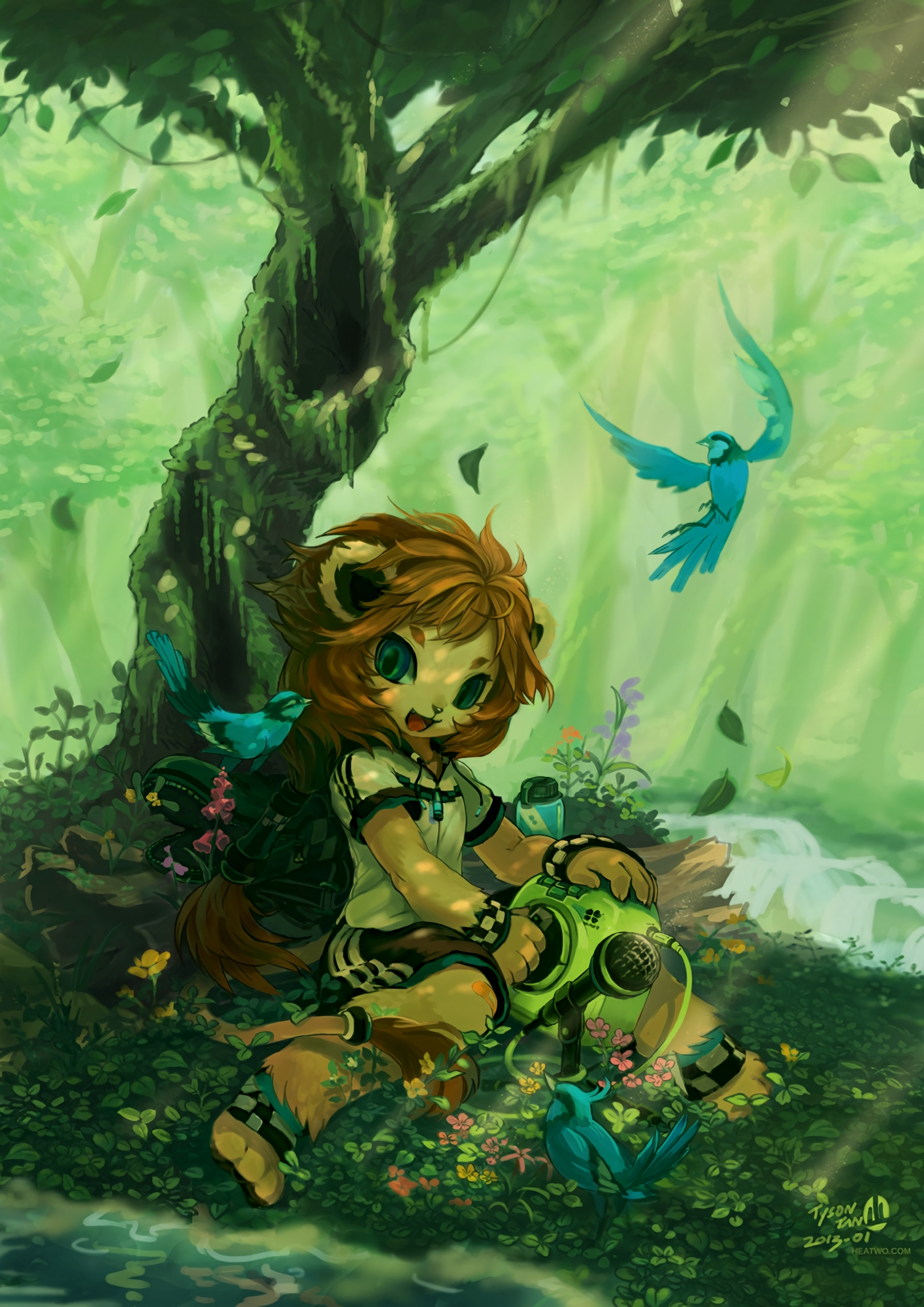 118093 Screensavers and Wallpapers Pretty for phone. Download Fantasy, Art, Forest, Lion, Girl, Pretty, Lion Cub, Beasts pictures for free
