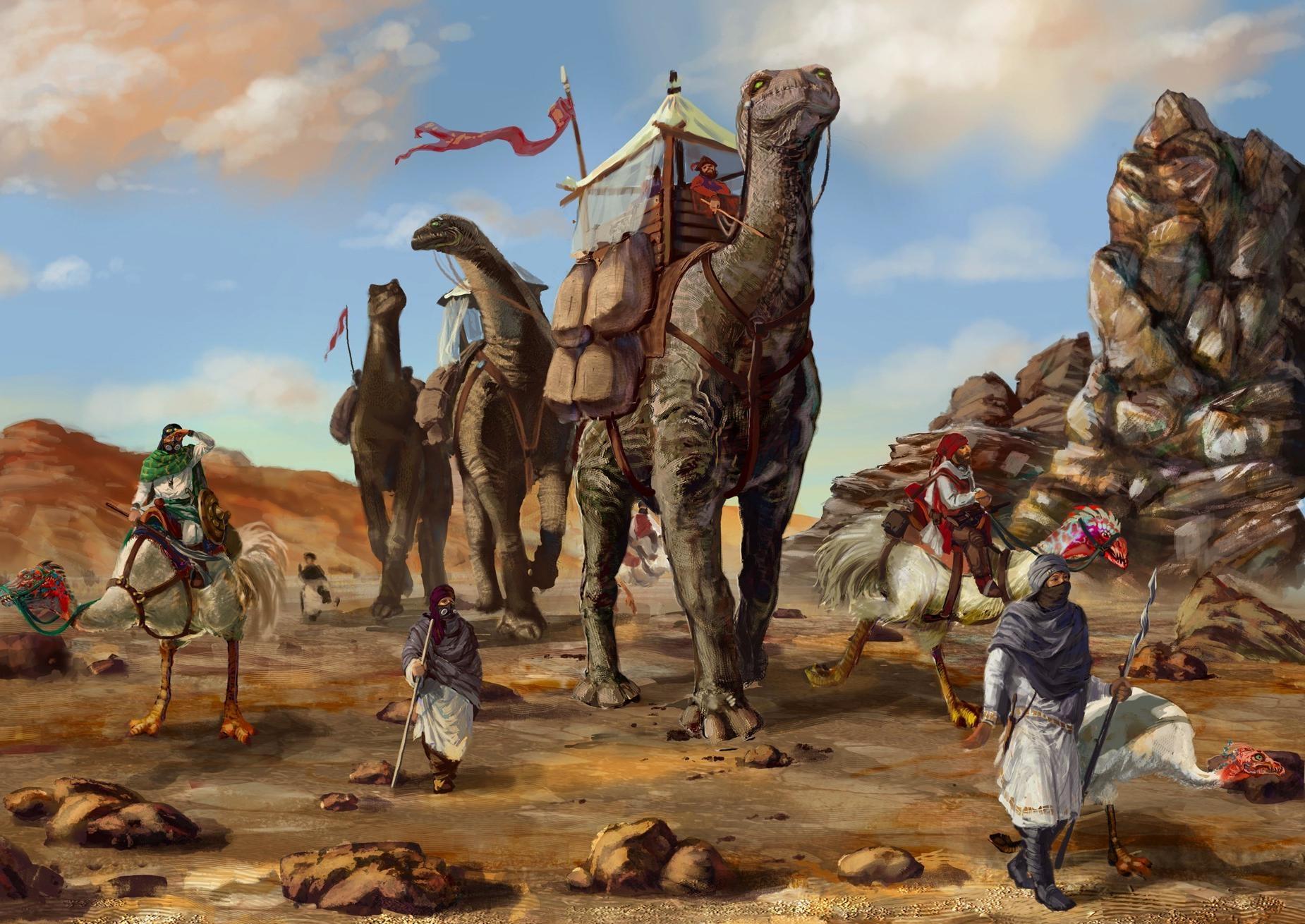 107549 download wallpaper Fantasy, Desert, Dinosaurs, Caravan, Bedouin, Bedouins screensavers and pictures for free