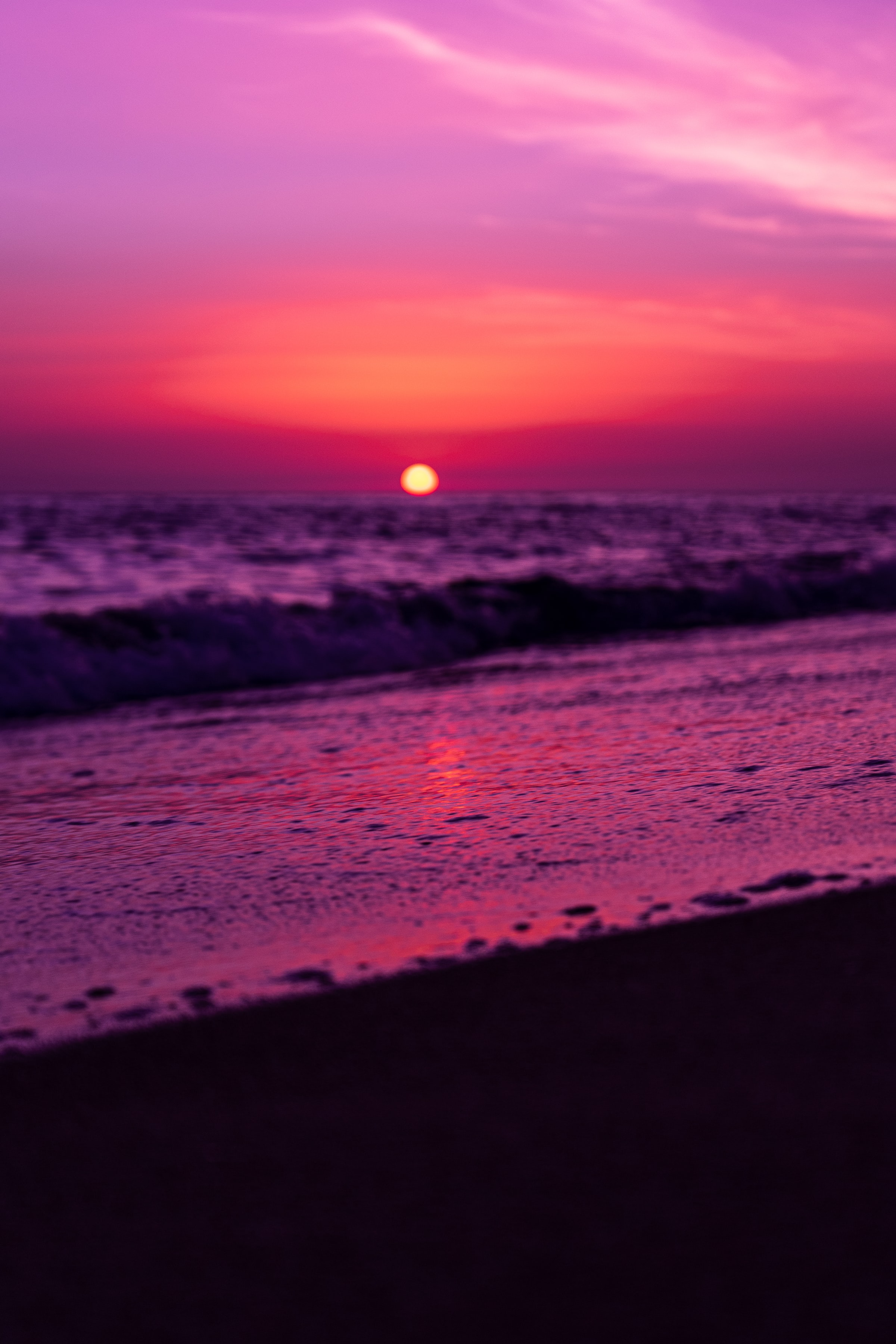 124962 download wallpaper Nature, Horizon, Sunset, Purple, Violet, Sun screensavers and pictures for free