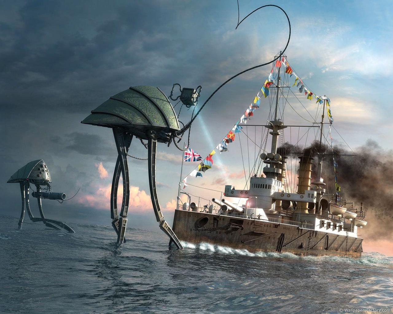 22807 скачать обои Фэнтези, Корабли, Море, Инопланетяне, Нло (Extraterrestrials, Ufo) - заставки и картинки бесплатно