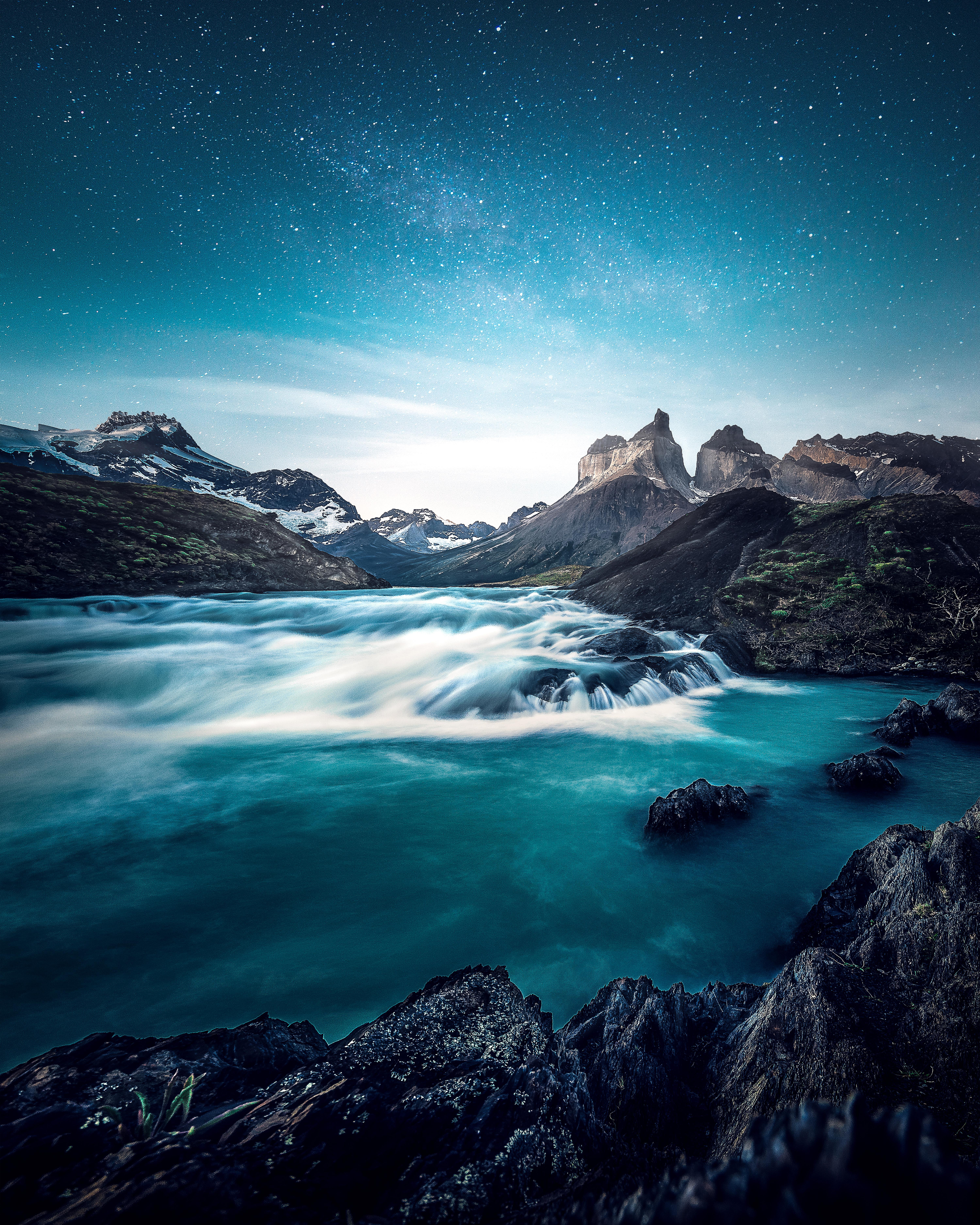 141883 Screensavers and Wallpapers Rocks for phone. Download Nature, Rocks, Lake, Waterfall, National Park, Chile, Torres Del Pine, Torres Del Paine pictures for free