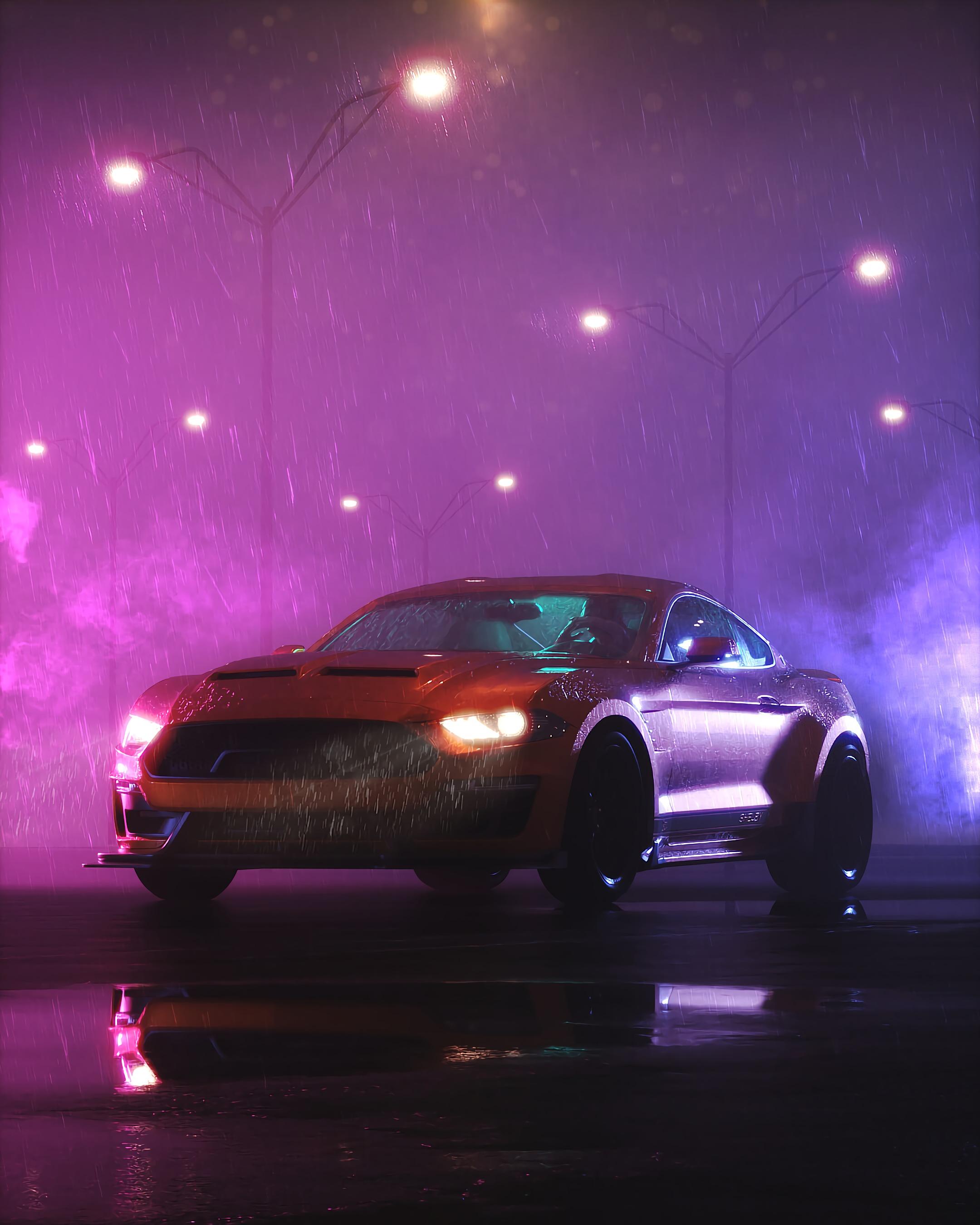 141778 обои 1080x2400 на телефон бесплатно, скачать картинки Тачки (Cars), Дождь, Ночь, Мокрый, Темный, Машина, Спорткар 1080x2400 на мобильный