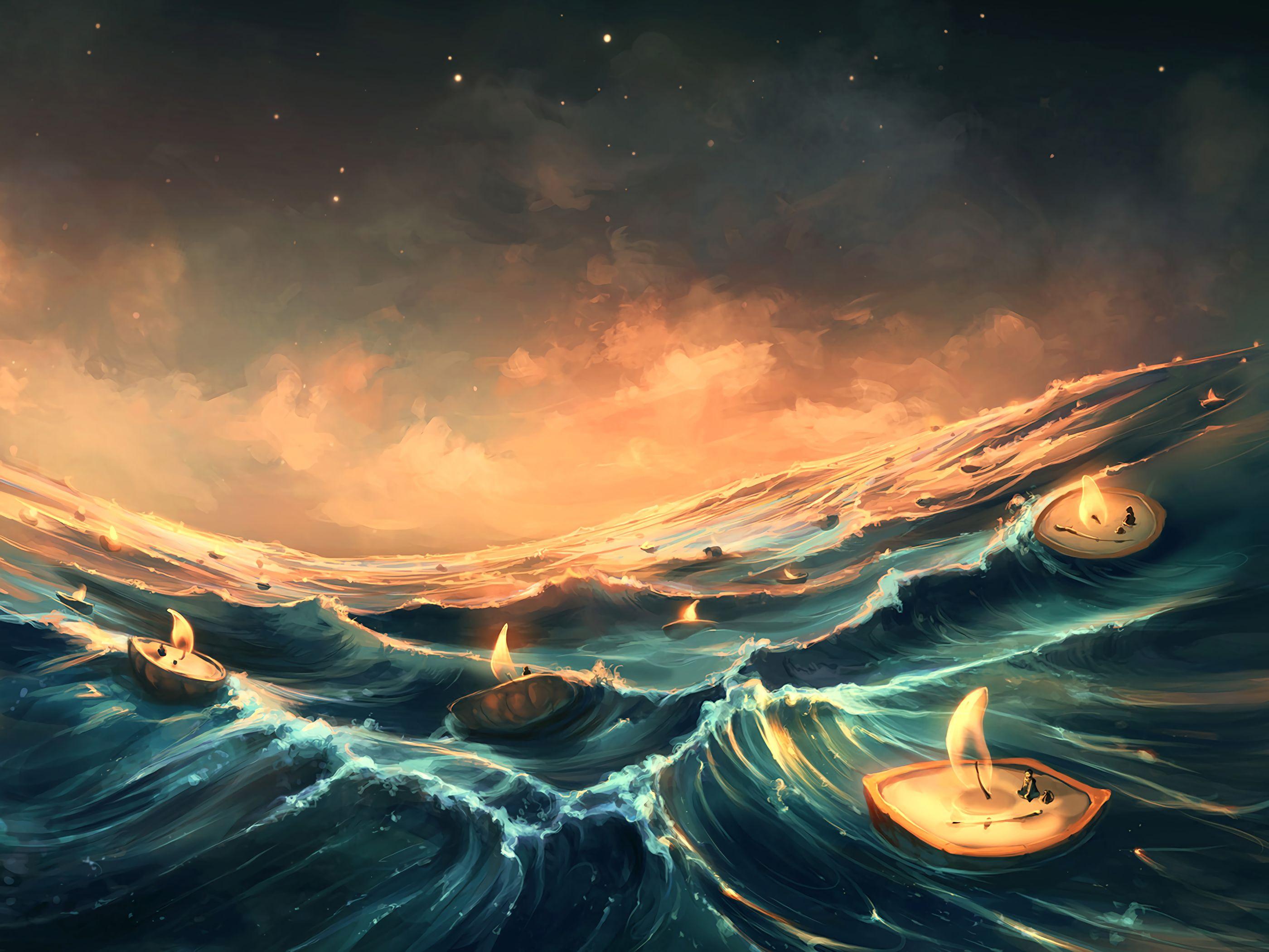 125577 Заставки и Обои Волны на телефон. Скачать Море, Свечи, Арт, Фантазия, Волны картинки бесплатно