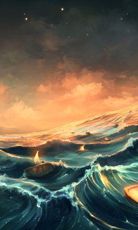 125577 завантажити шпалери Море, Свічки, Арт, Фантазія, Фантазії, Хвилі - заставки і картинки безкоштовно