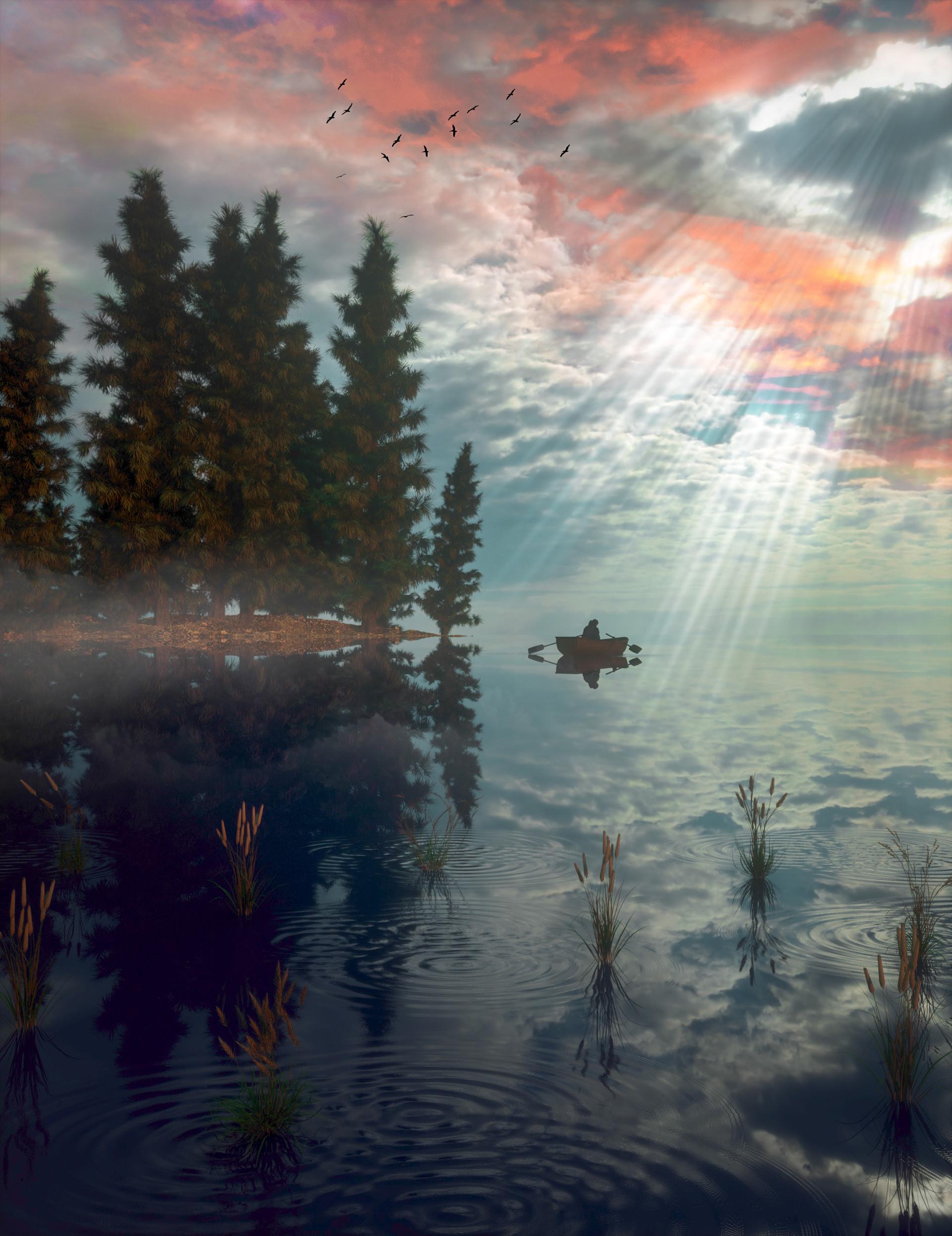 86777 скачать обои Арт, Лодка, Природа, Деревья, Озеро, Туман - заставки и картинки бесплатно
