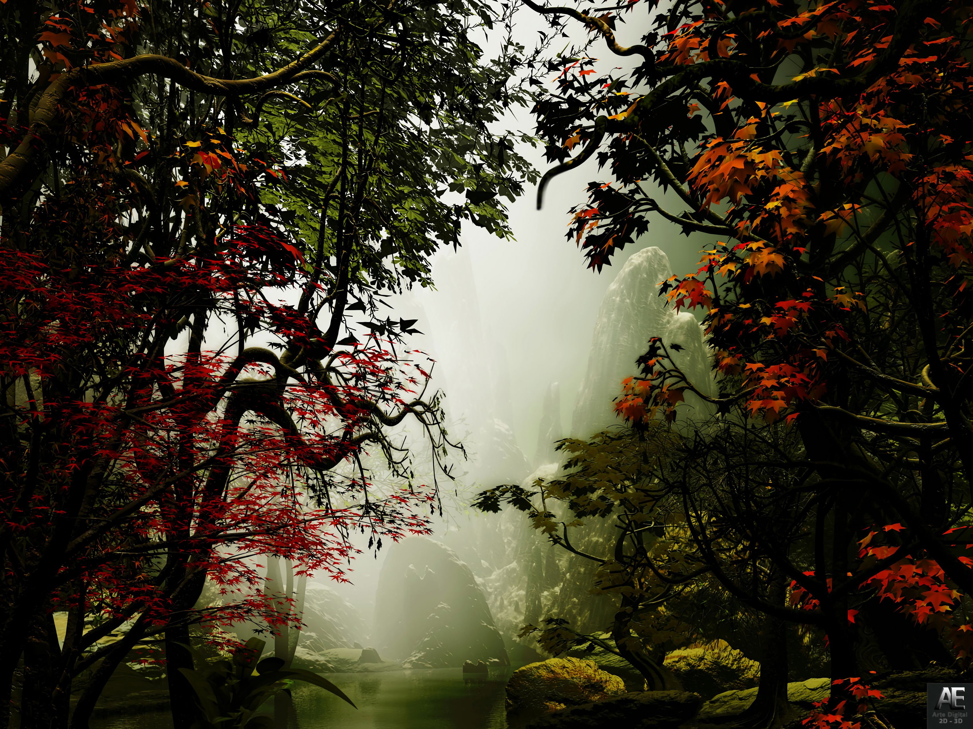 133165 download wallpaper Trees, Autumn, Fog, Art, Rocks screensavers and pictures for free
