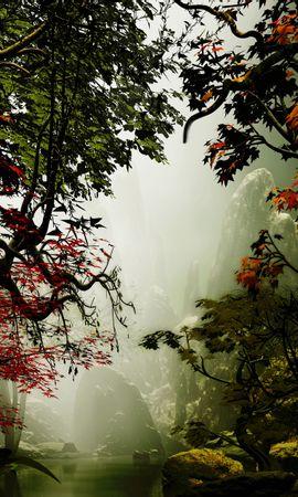 133165 Заставки и Обои Деревья на телефон. Скачать Деревья, Осень, Туман, Арт, Скалы картинки бесплатно
