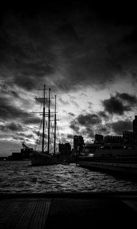 127232 скачать обои Темные, Корабли, Порт, Чб, Темный - заставки и картинки бесплатно