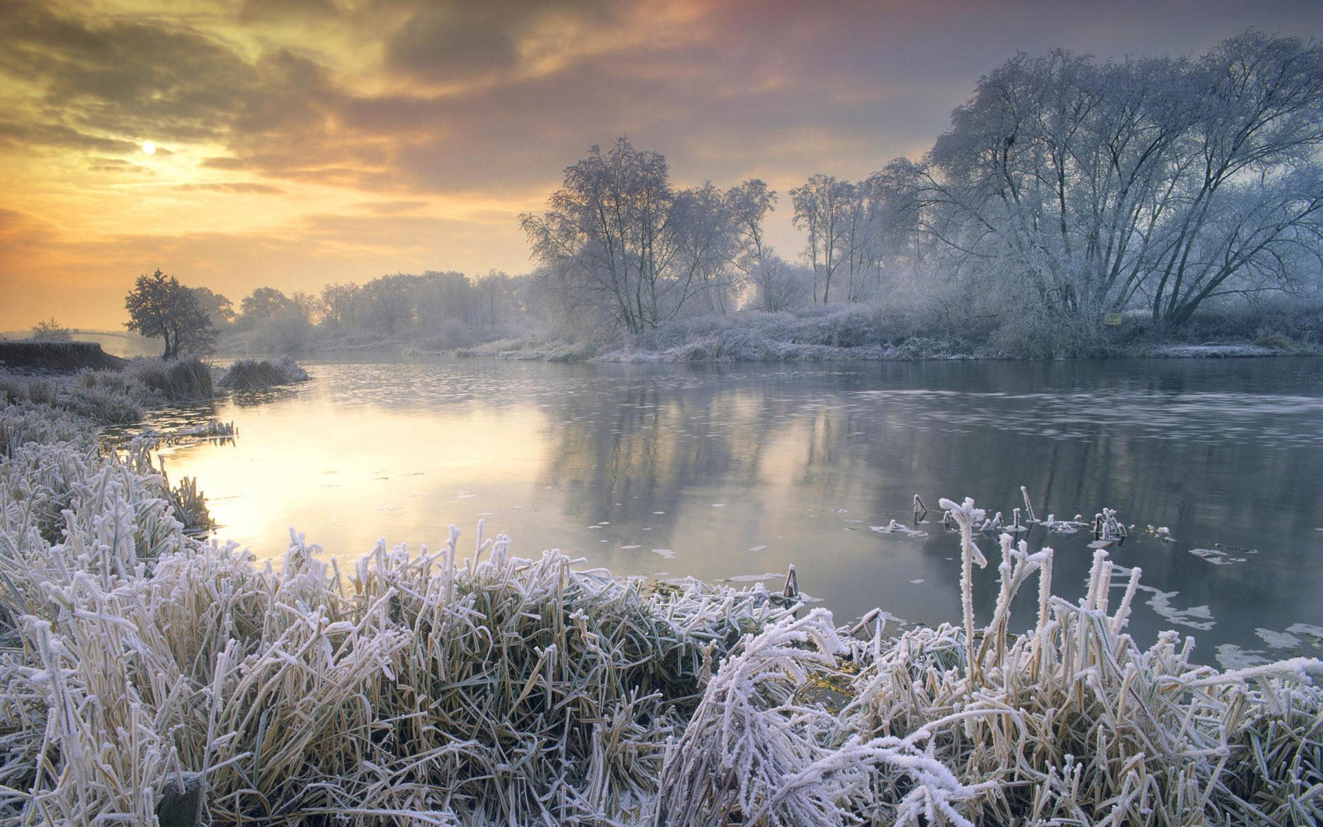 22775 скачать обои Пейзаж, Зима, Река, Деревья, Закат - заставки и картинки бесплатно