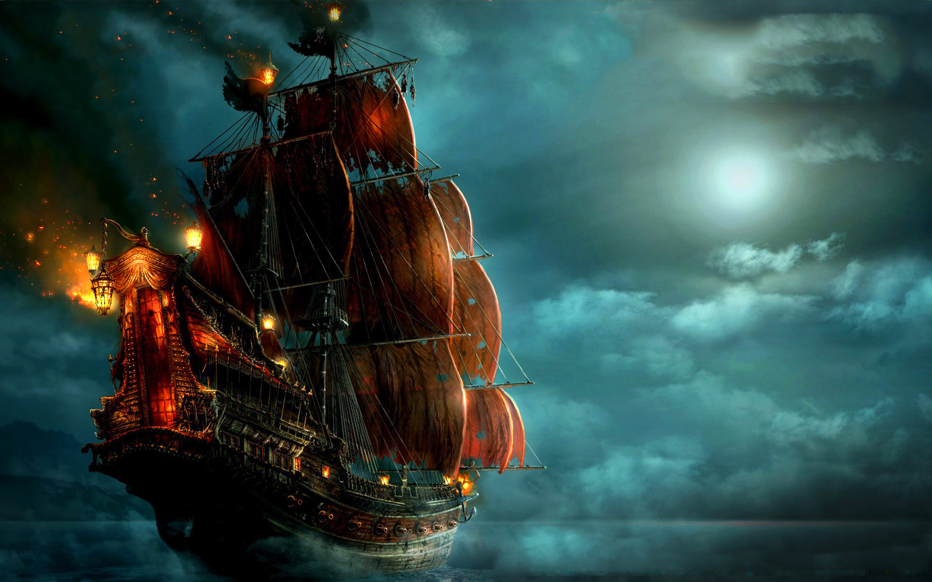 20355 download wallpaper Ships, Sea, Night, Pictures screensavers and pictures for free