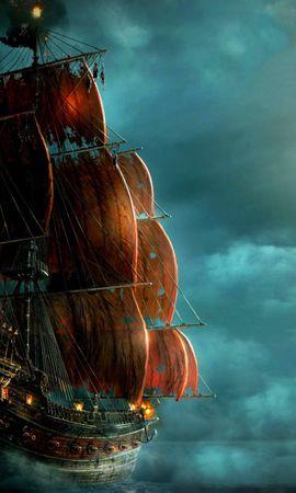 20355 скачать обои Корабли, Море, Ночь, Рисунки - заставки и картинки бесплатно
