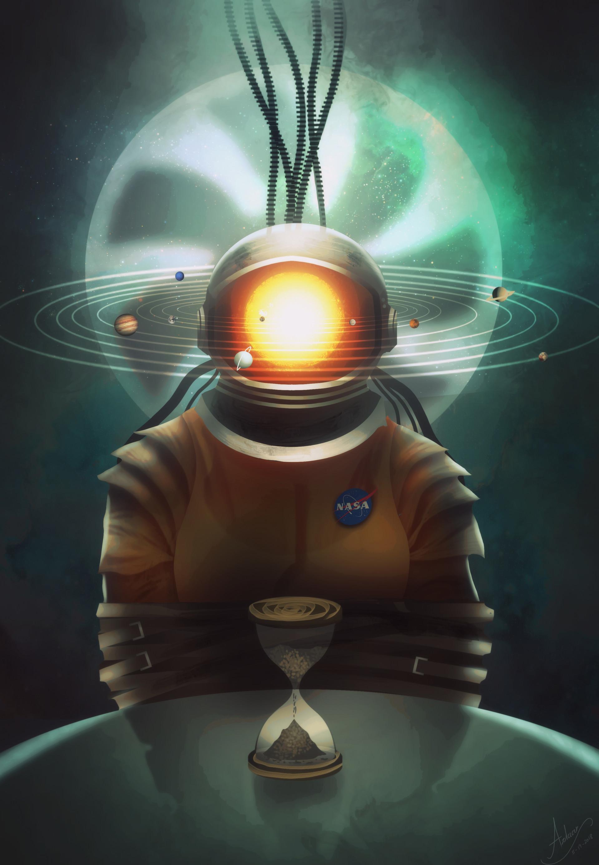 147454 Hintergrundbild herunterladen Kunst, Universum, Kosmonaut, Kosmonauten, Surrealismus, Sonnensystem, Solaranlage, Sanduhr - Bildschirmschoner und Bilder kostenlos