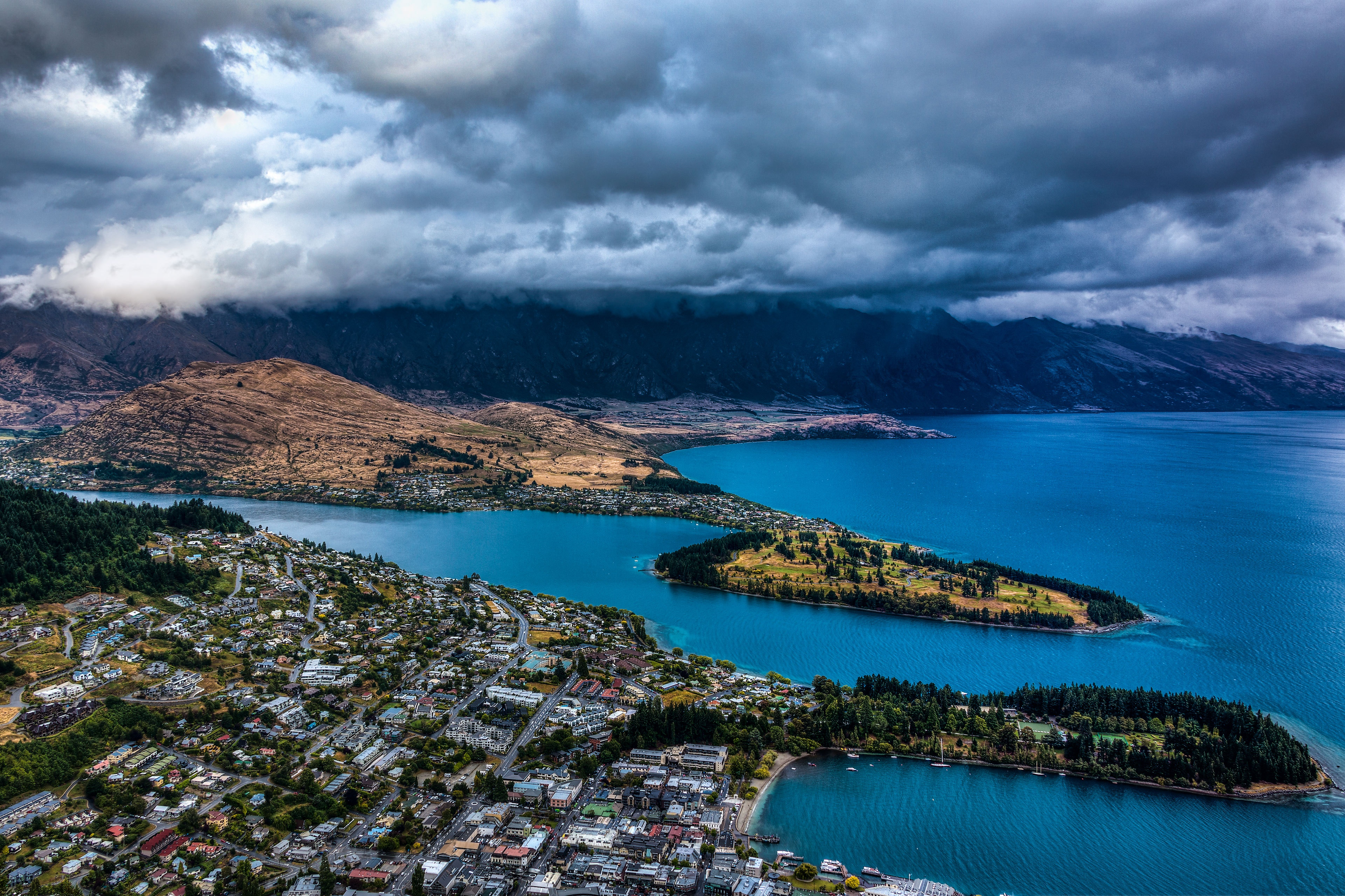53260 download wallpaper Nature, Lake, View From Above, City, Clouds, New Zealand, Mountains screensavers and pictures for free