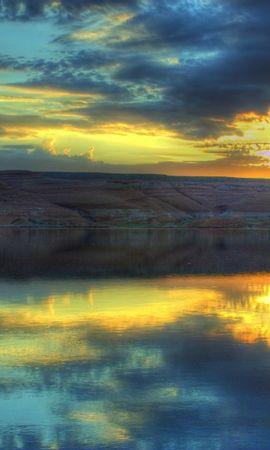 23425 скачать обои Пейзаж, Закат, Горы, Облака, Озера - заставки и картинки бесплатно