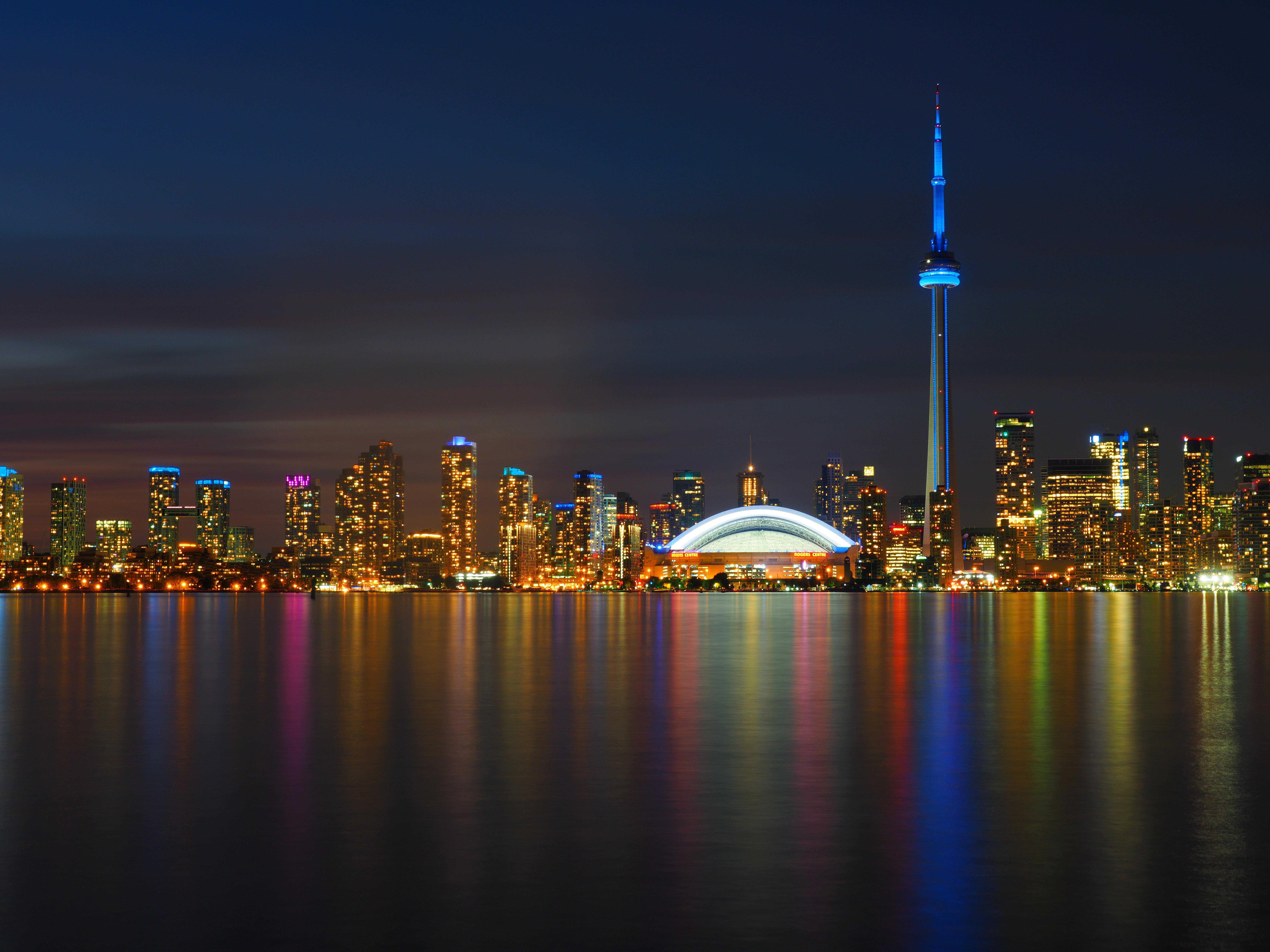 80409 обои 720x1280 на телефон бесплатно, скачать картинки Города, Небоскребы, Ночь, Панорама, Торонто 720x1280 на мобильный