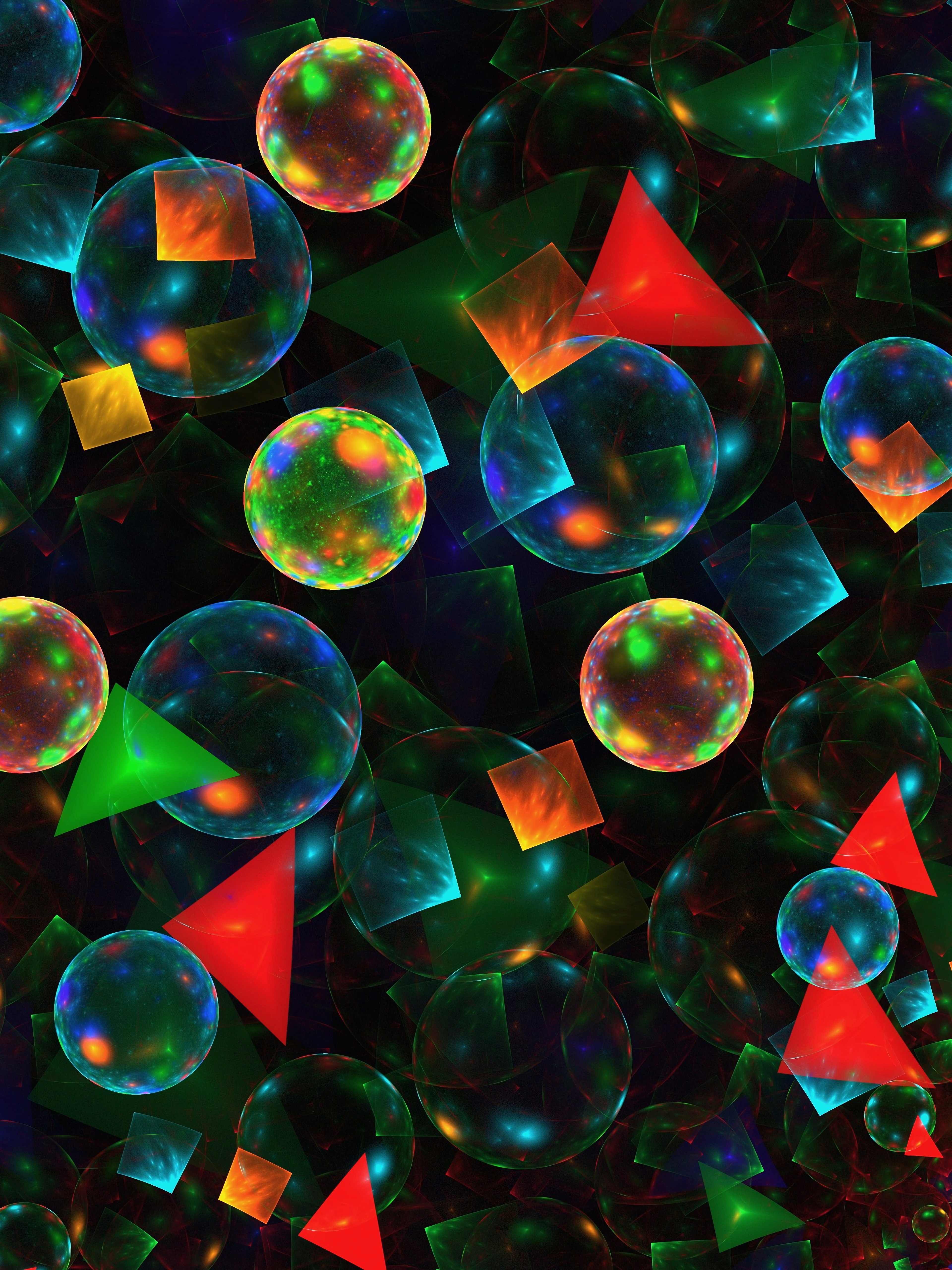 127411 download wallpaper Abstract, Balls, Triangles, Form, Multicolored, Motley screensavers and pictures for free