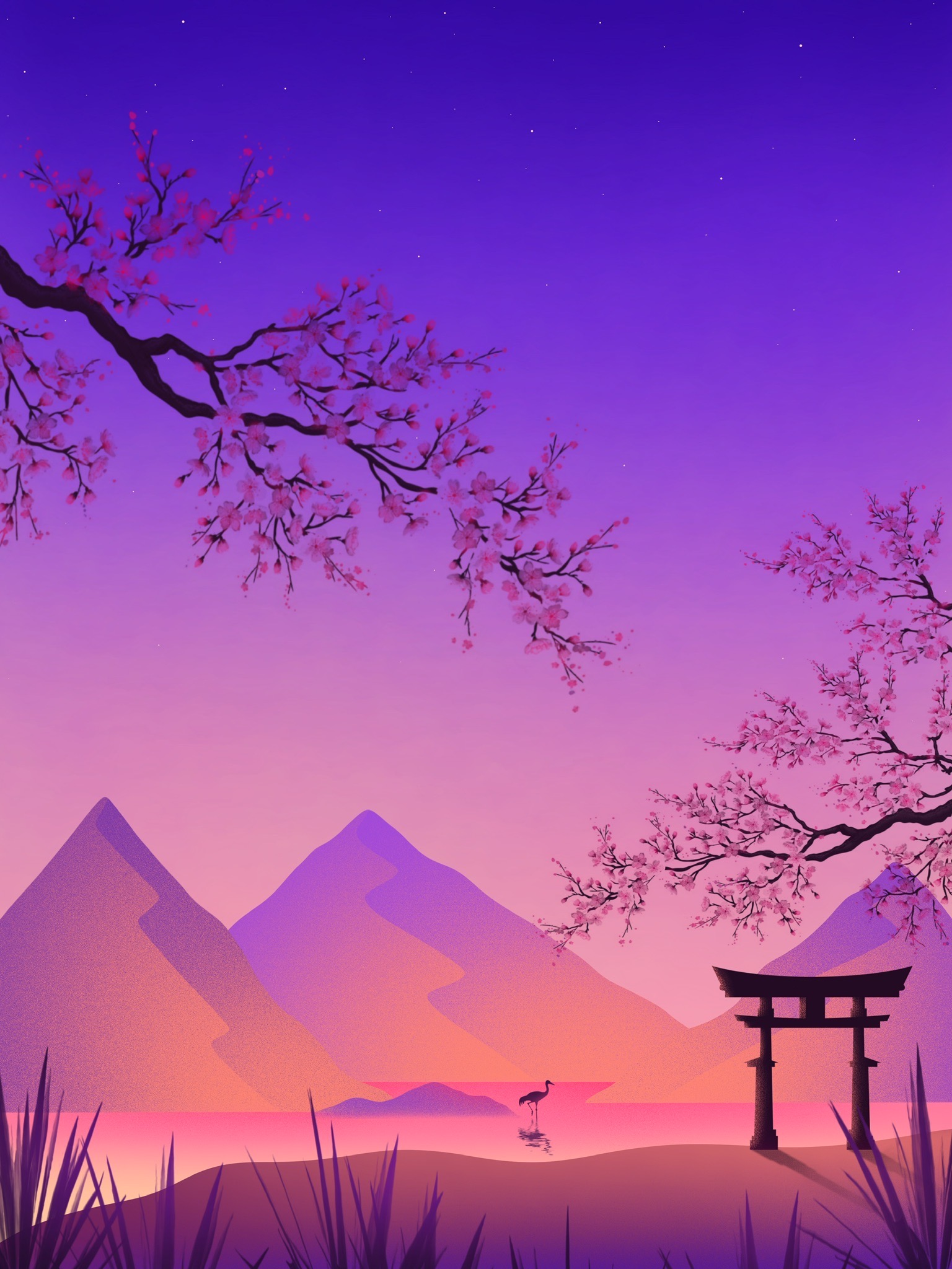 87153 Screensavers and Wallpapers Sakura for phone. Download Sakura, Art, Mountains, Violet, Purple, Crane, Torii, Gate, Goal pictures for free