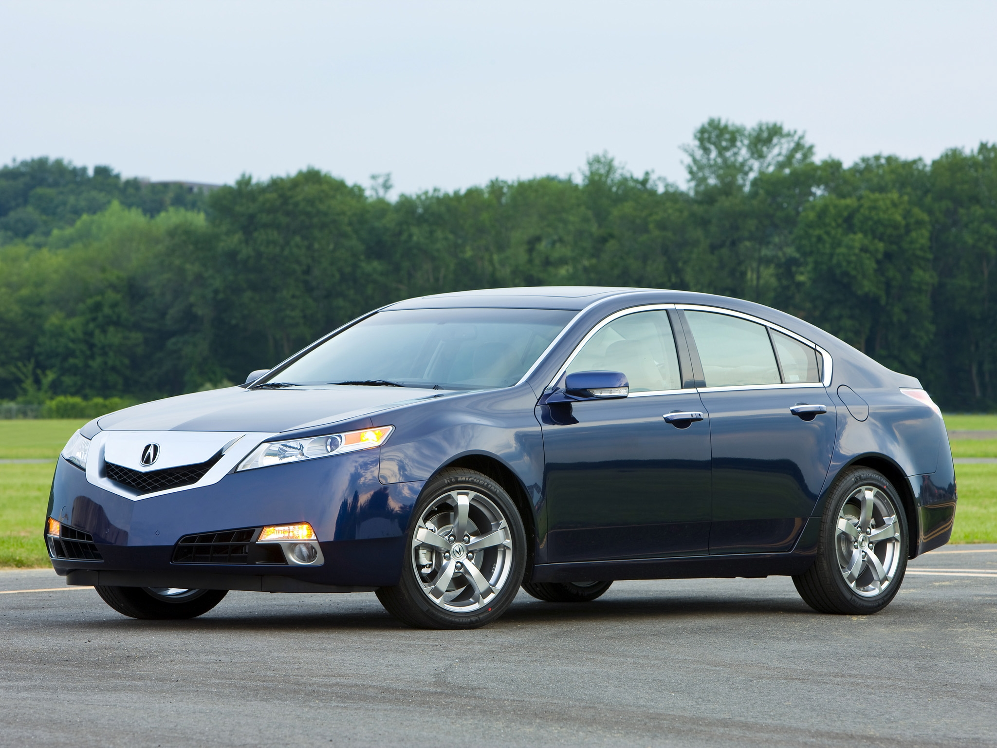 80956 download wallpaper Cars, Acura, Tl, 2008, Side View, Style, Auto, Akura, Nature, Sky, Grass, Trees screensavers and pictures for free