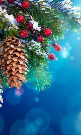 16389 скачать обои Праздники, Фон, Шишки, Новый Год (New Year), Елки, Рождество (Christmas, Xmas) - заставки и картинки бесплатно