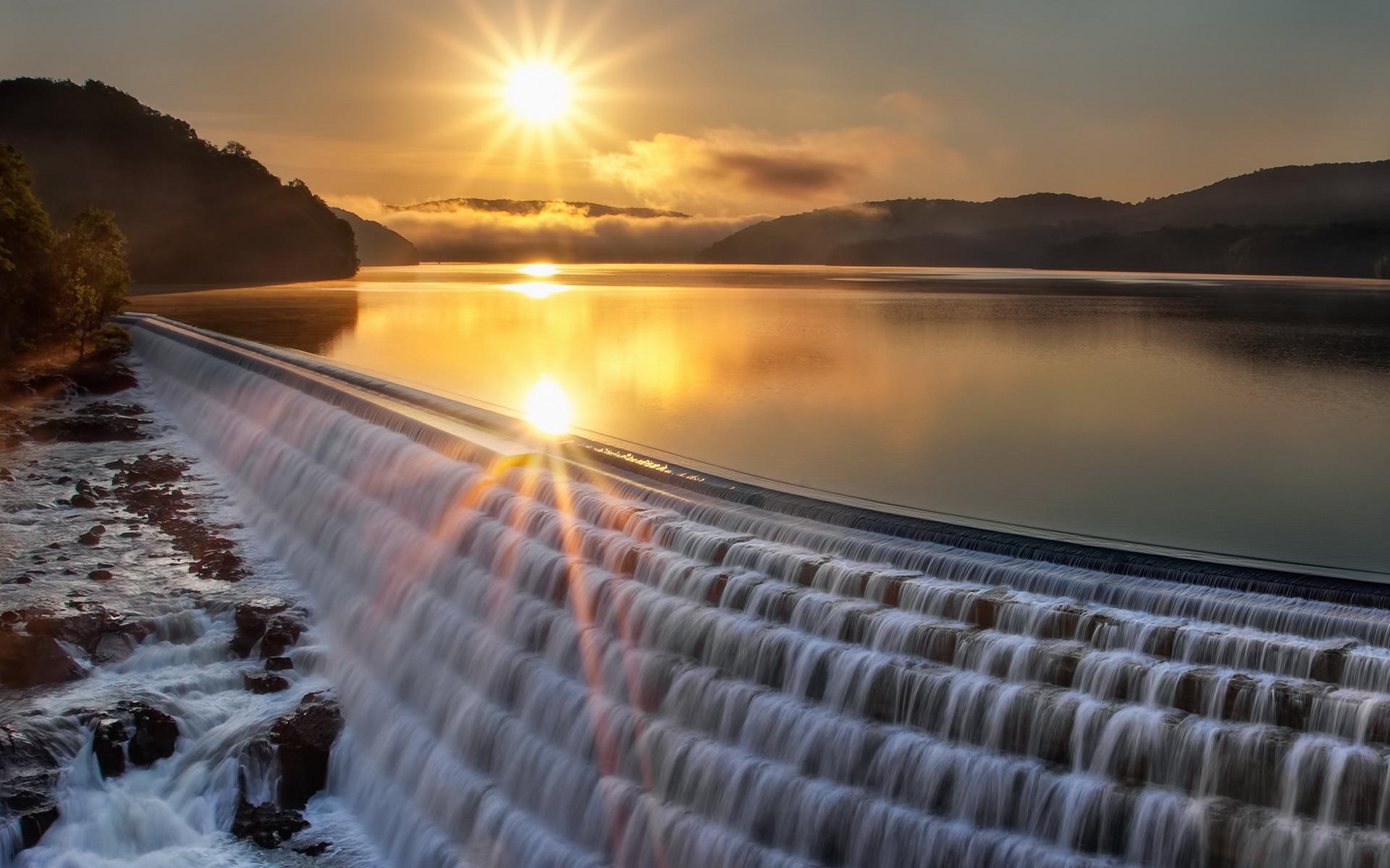 18498 скачать обои Водопады, Пейзаж, Закат, Река - заставки и картинки бесплатно