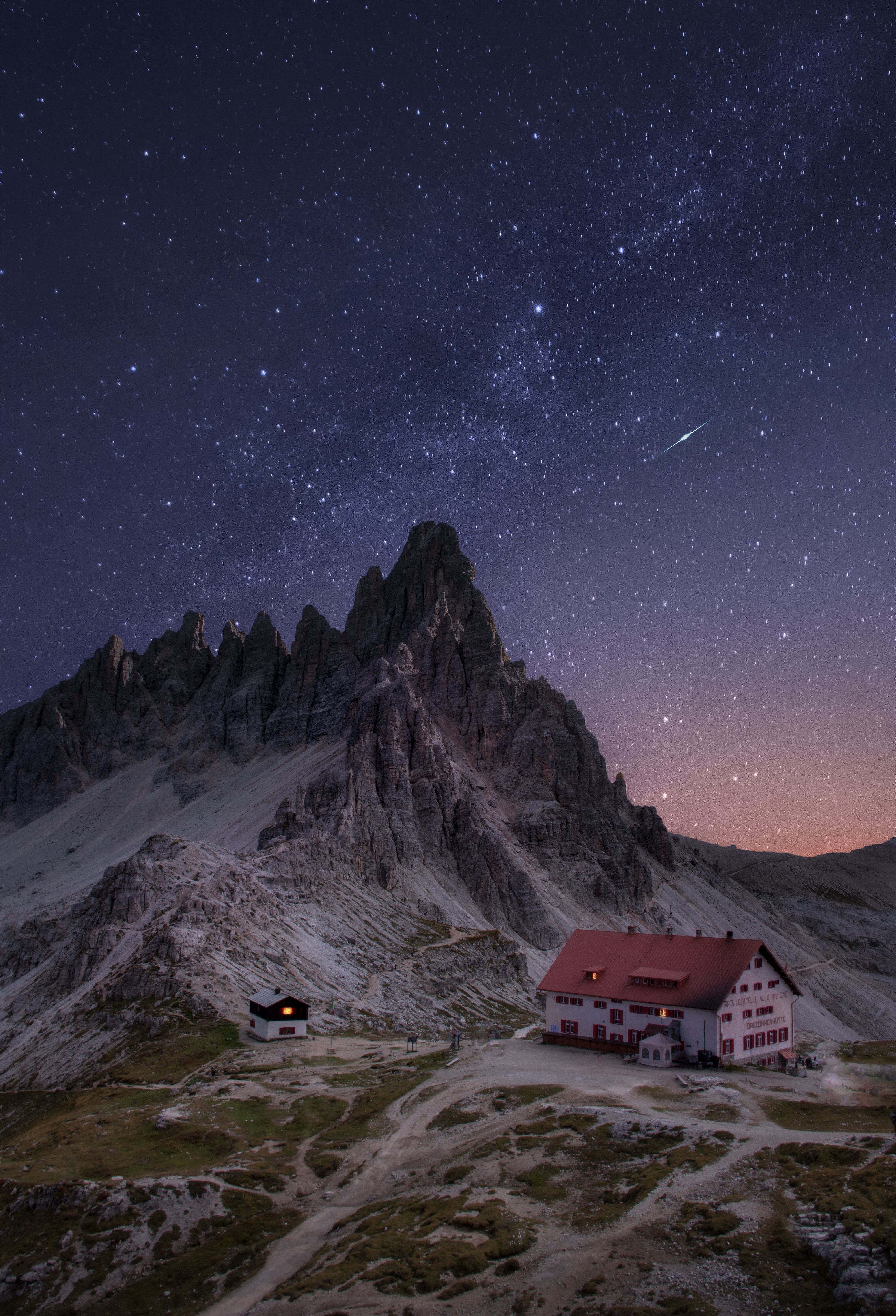 78634 Screensavers and Wallpapers Rocks for phone. Download Nature, Mountains, Night, Rocks, Starry Sky, House pictures for free