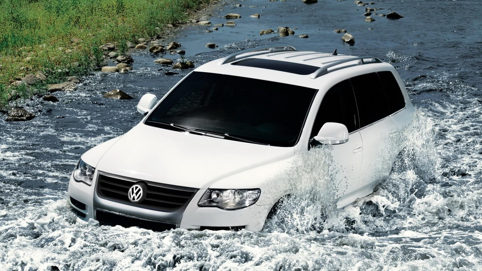 27035 скачать обои Транспорт, Машины, Река, Фольксваген (Volkswagen) - заставки и картинки бесплатно