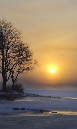 116780 Заставки и Обои Солнце на телефон. Скачать Природа, Зима, Озеро, Лед, Снег, Деревья, Рассвет, Солнце картинки бесплатно