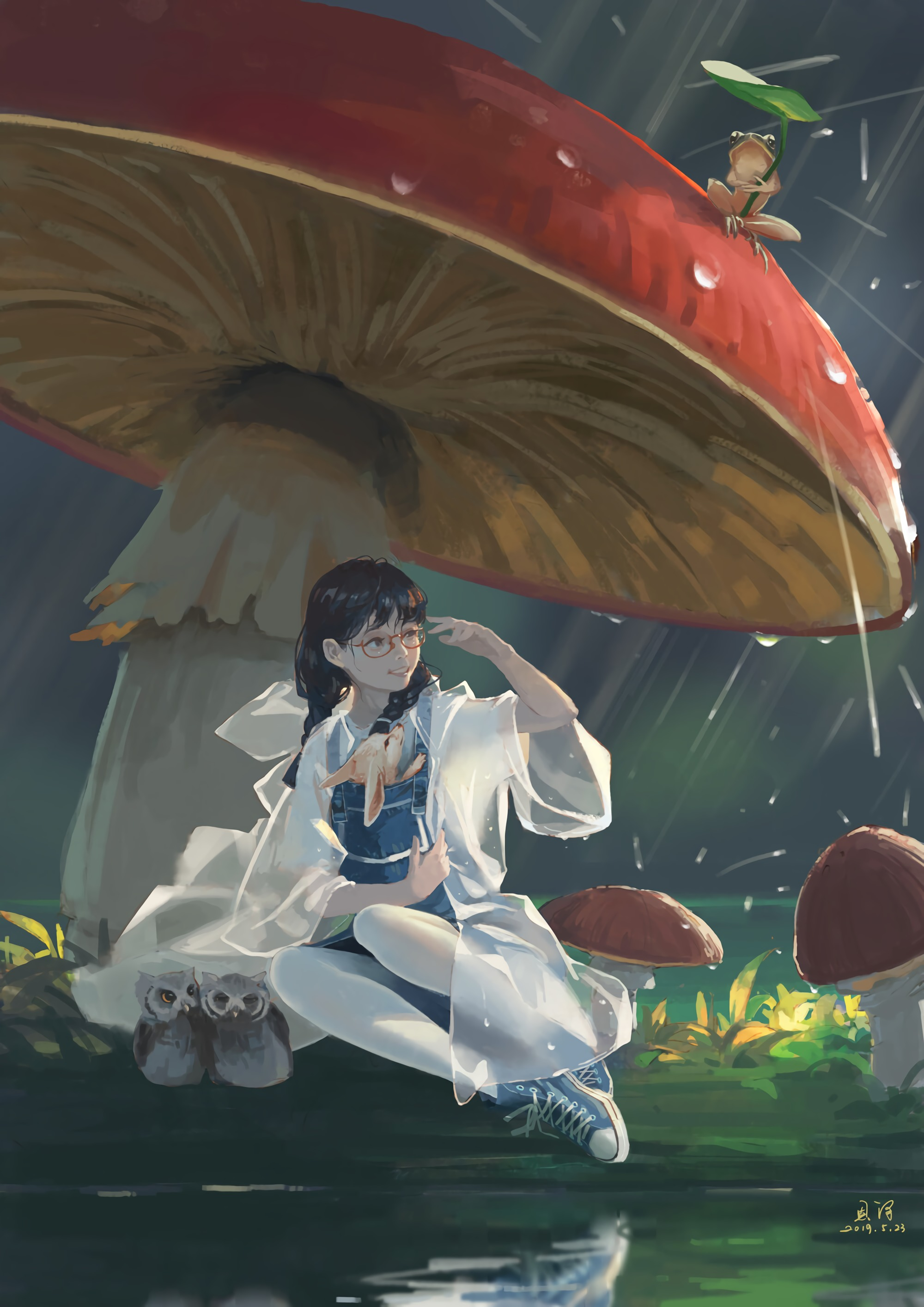 68106 download wallpaper Animals, Art, Rain, Mashrooms, Girl screensavers and pictures for free